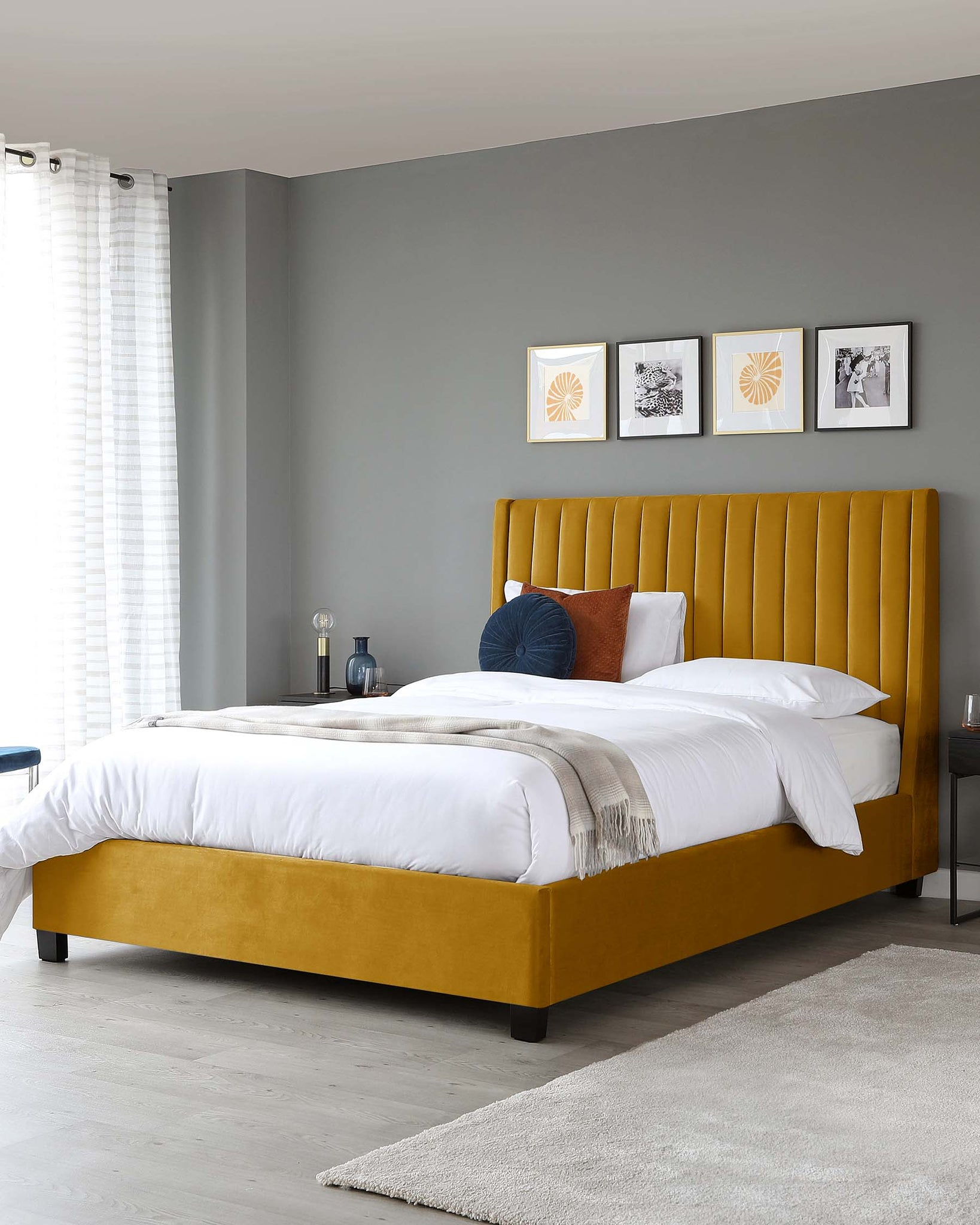 Amalfi Mustard Velvet King Size Bed With Storage