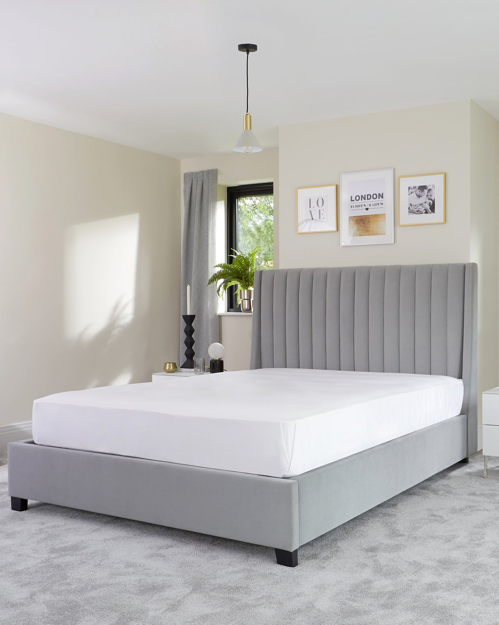 Amalfi Light Grey Velvet Double Bed With Storage