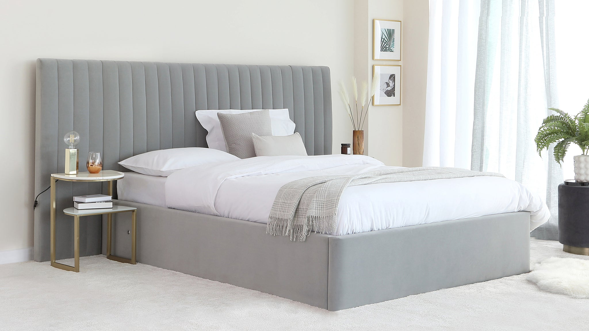 Amalfi Luxe Light Grey Velvet King Size Bed With Storage