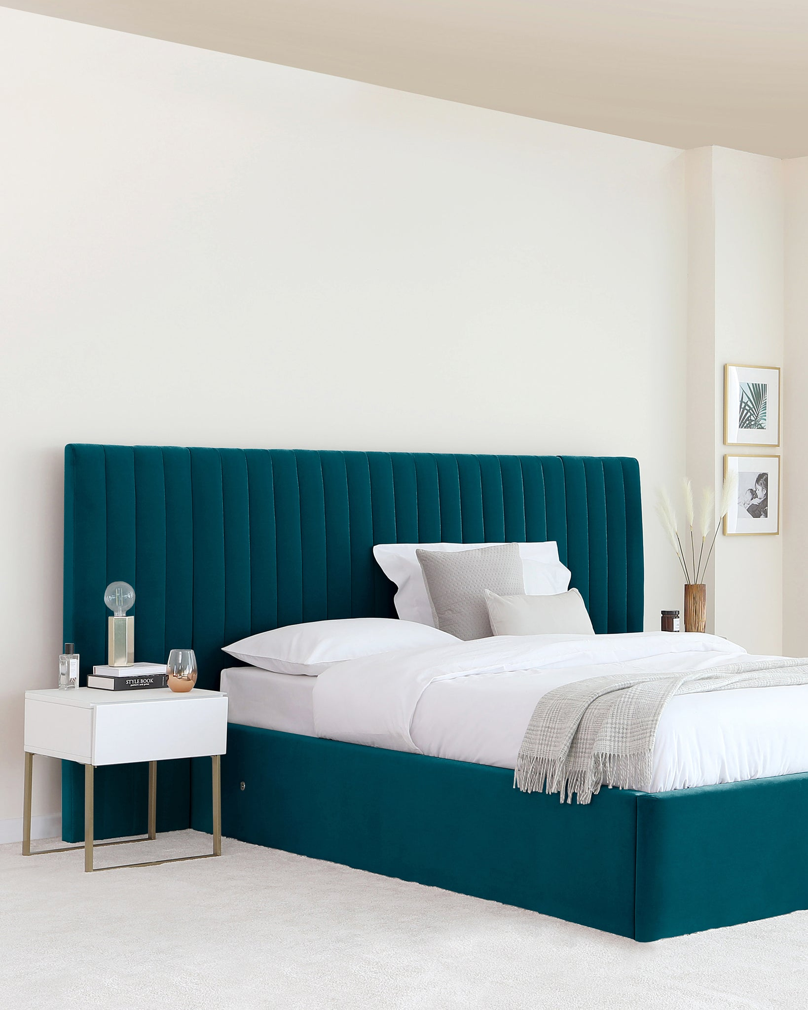 Amalfi Luxe Dark Teal Velvet King Size Bed With Storage