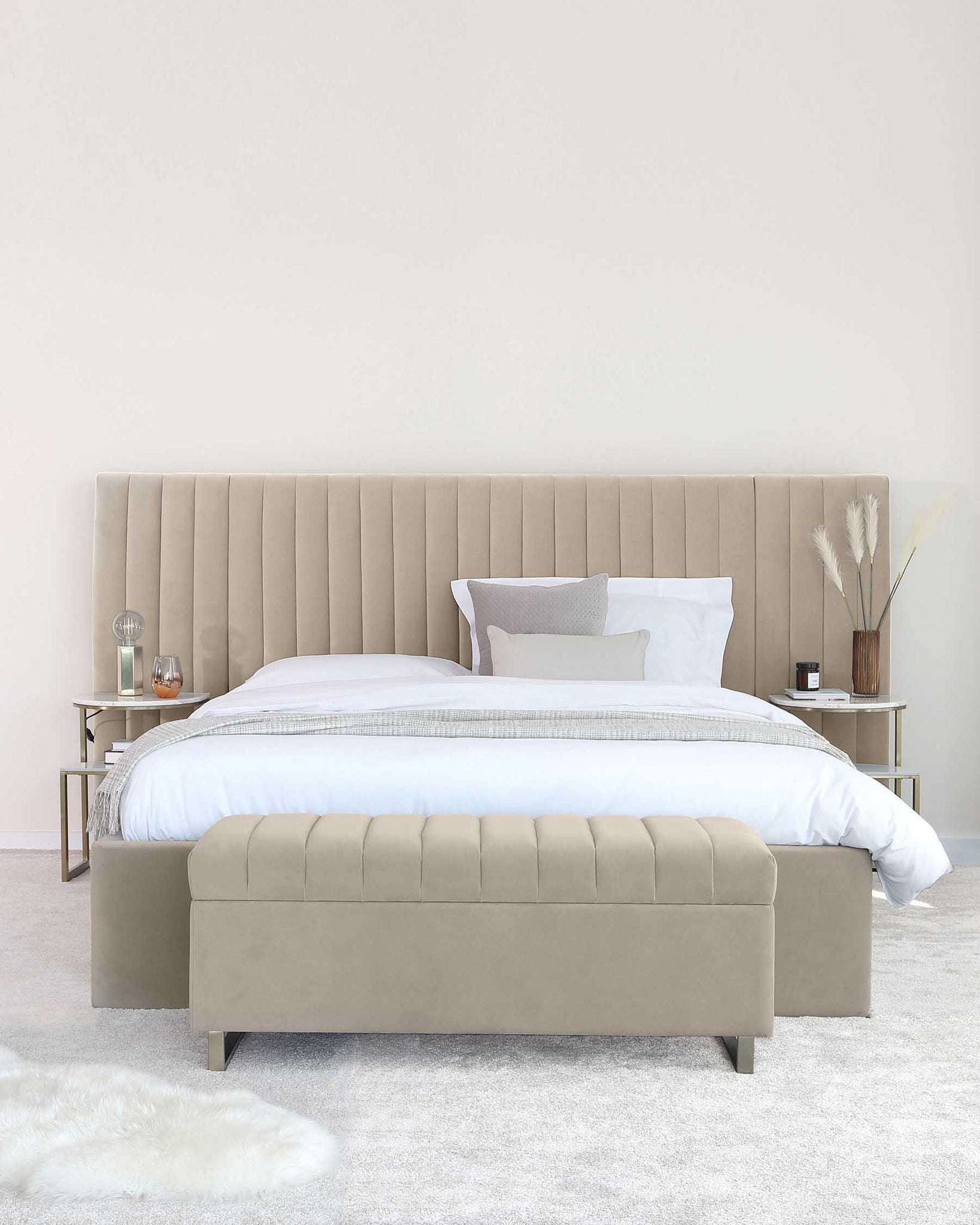 Amalfi Luxe Champagne Velvet King Size Bed With Storage