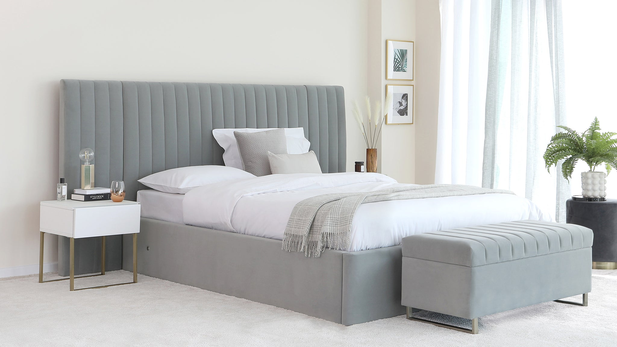 Amalfi Luxe Light Grey Velvet Super King Size Bed With Storage