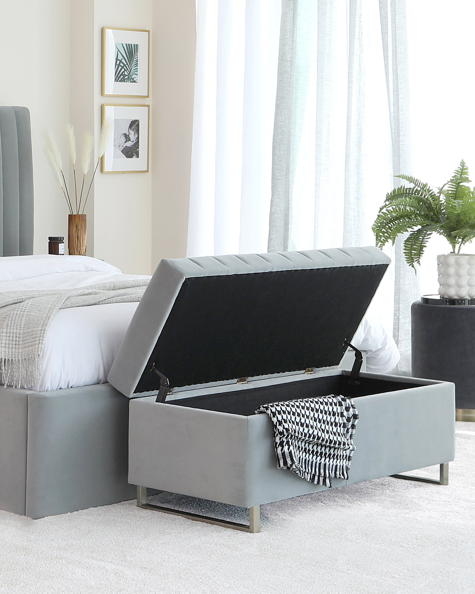 Amalfi Light Grey Velvet And Brushed Steel Ottoman Bench