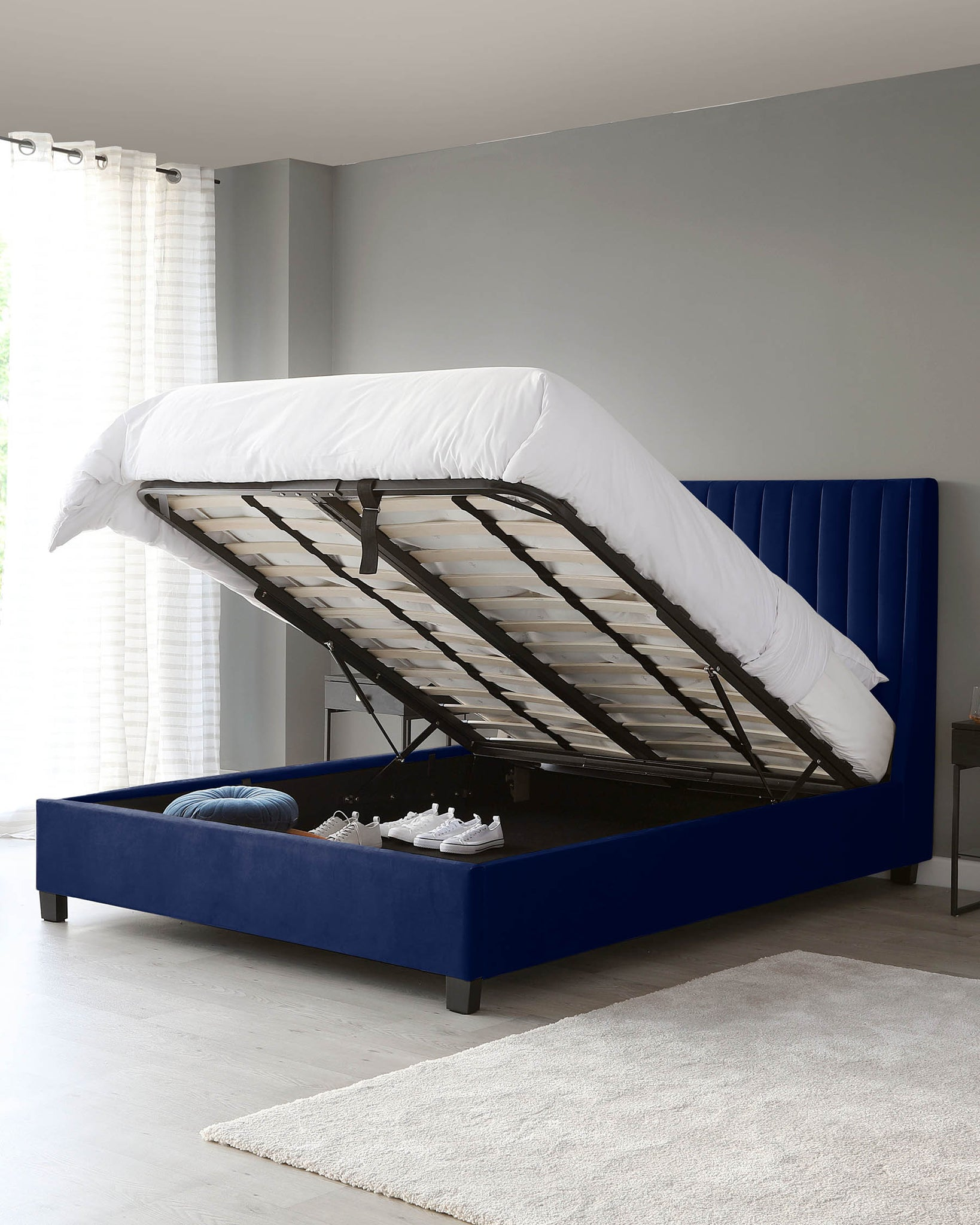 Amalfi Navy Velvet Double Bed With Storage