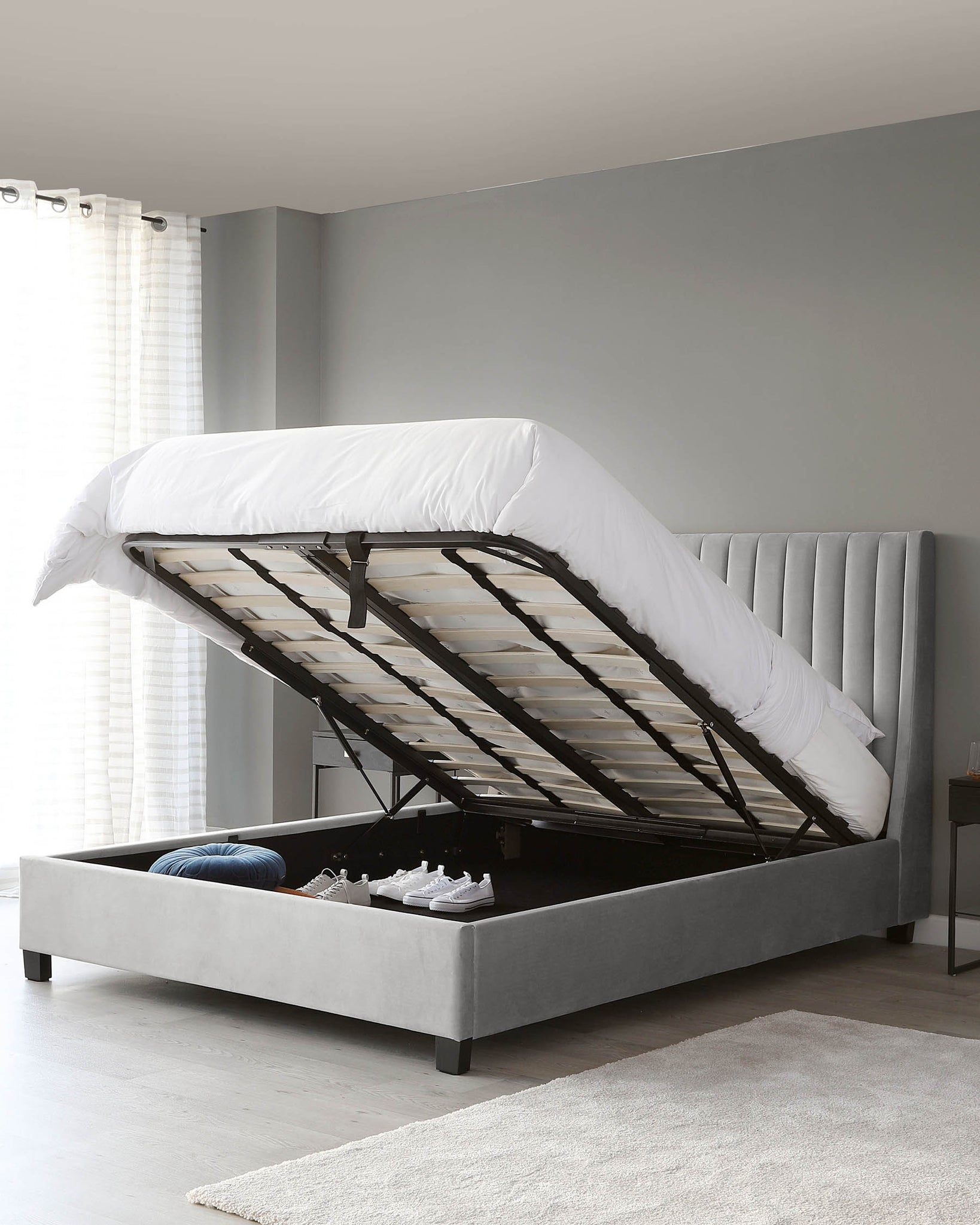 Amalfi Light Grey Velvet Super King Size Bed With Storage
