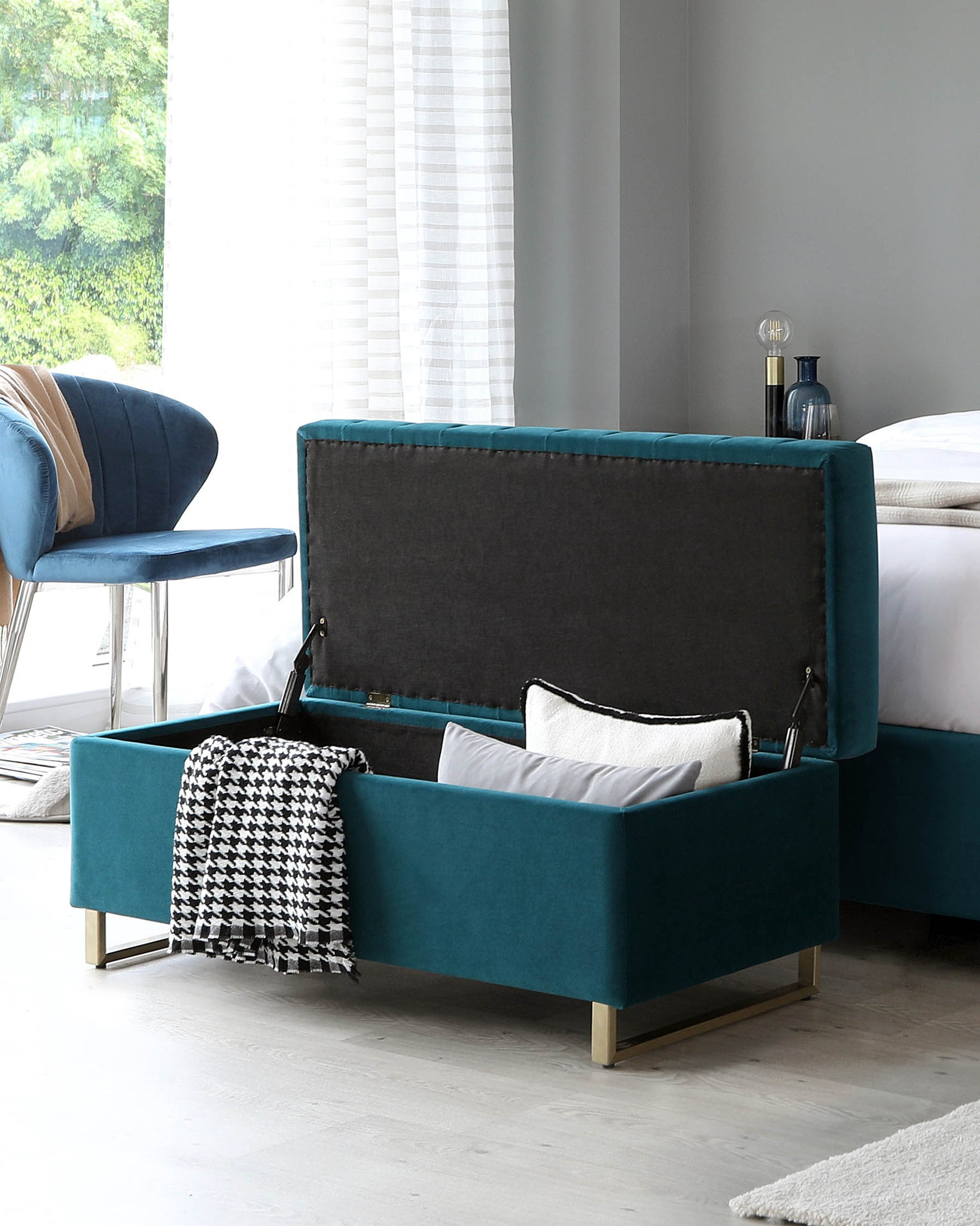 Amalfi Dark Teal Velvet And Brushed Brass Ottoman Storage Bench