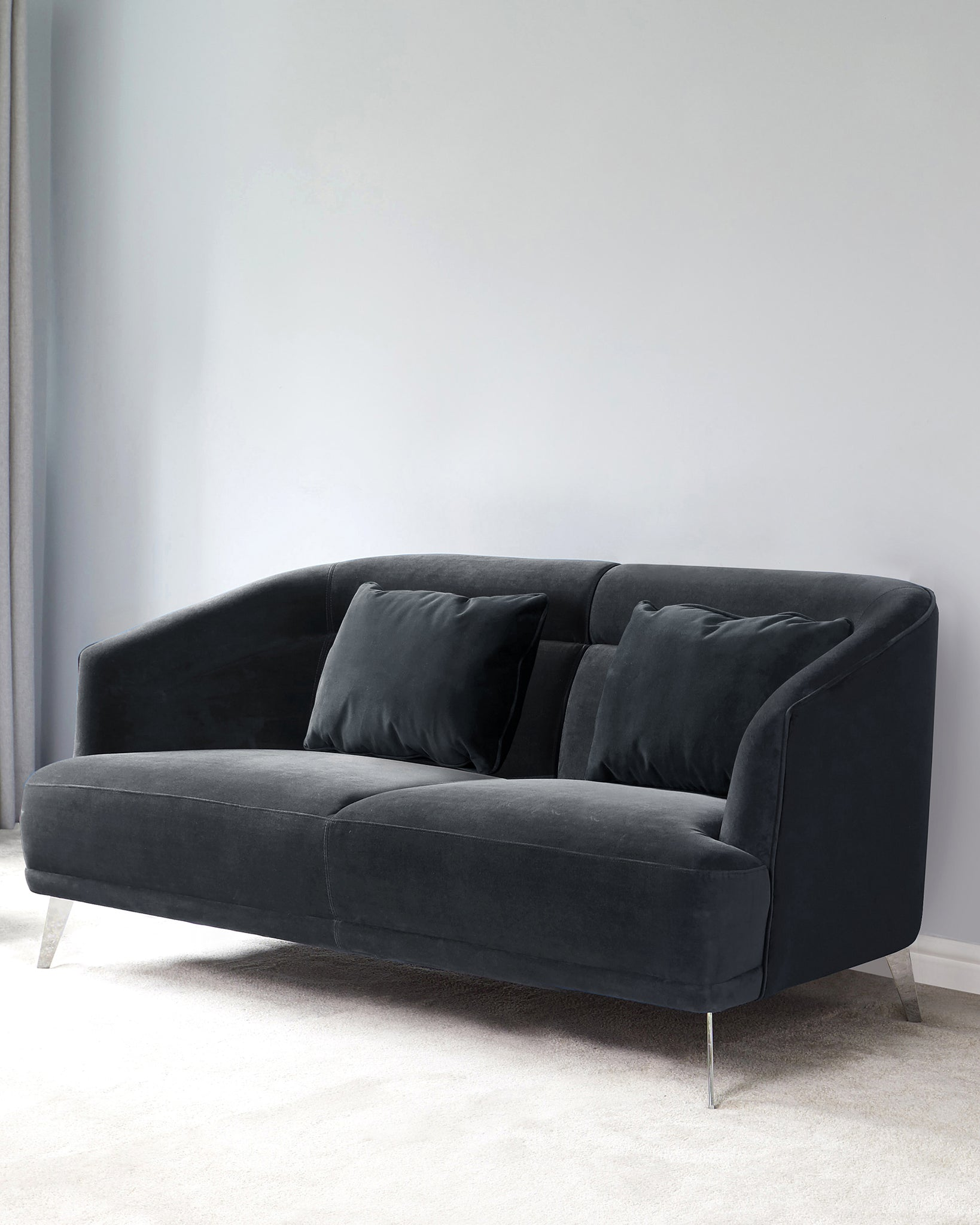 Amber Dark Grey Velvet With Chrome Leg 2 Seater Sofa