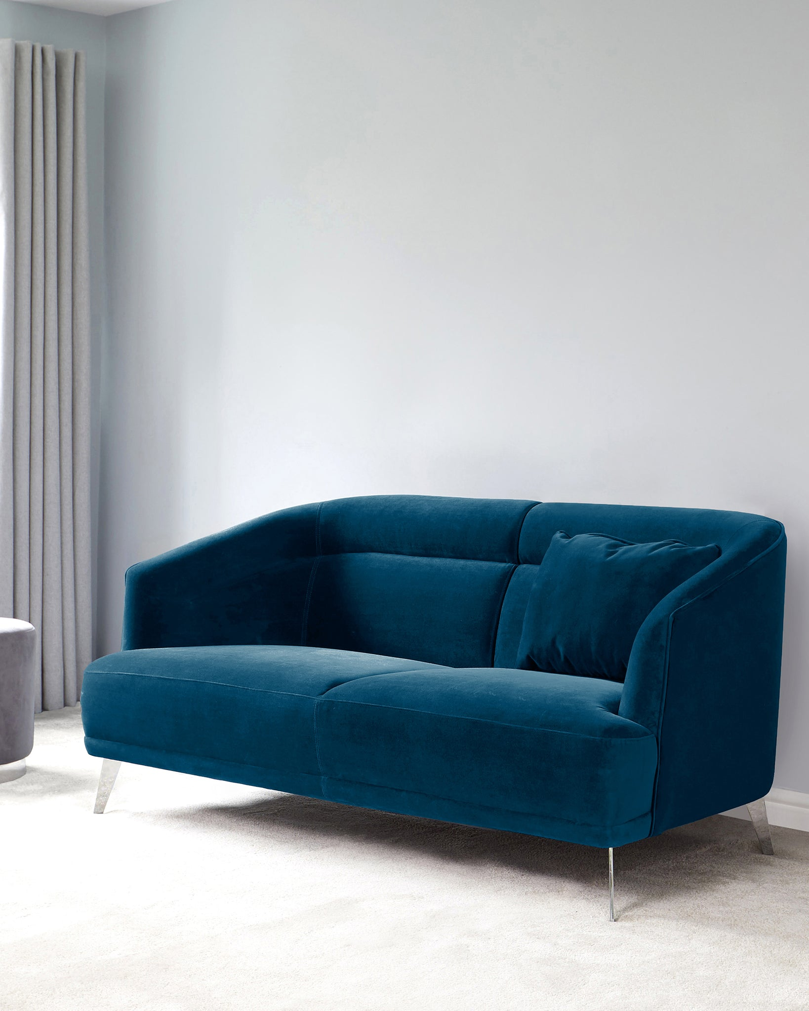 Amber Dark Blue Velvet With Chrome Leg 2 Seater Sofa