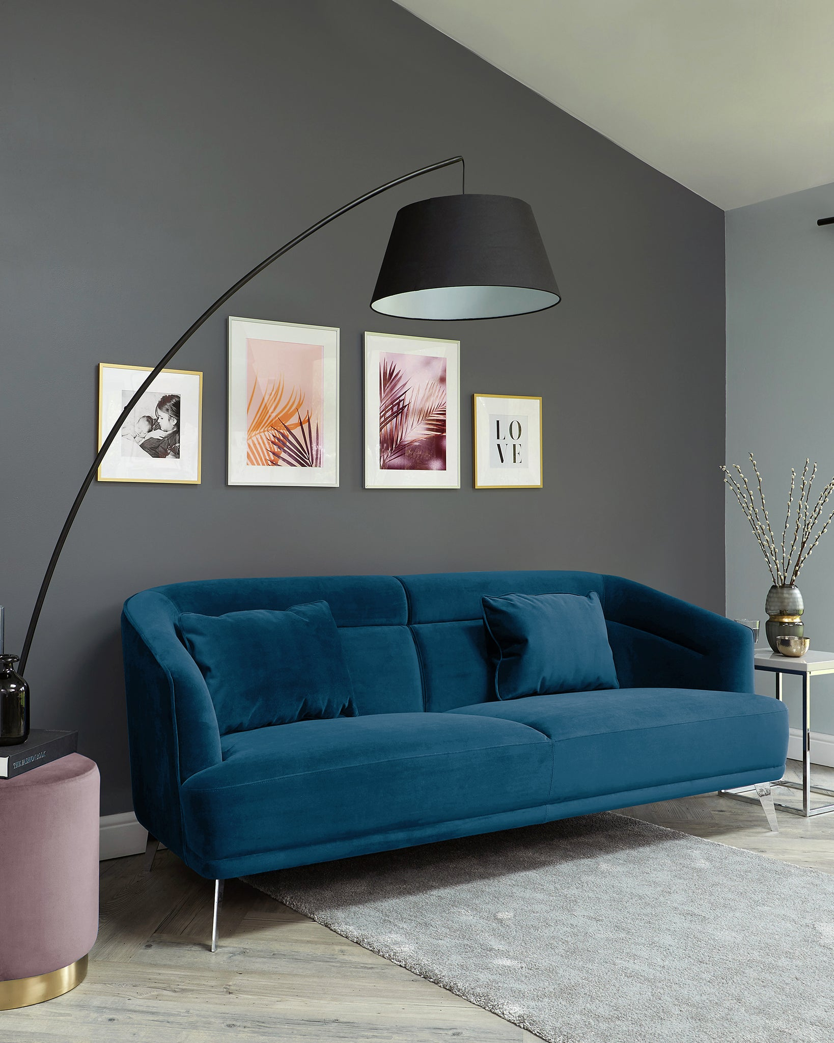 Amber Dark Blue Velvet With Chrome Leg 3 Seater Sofa