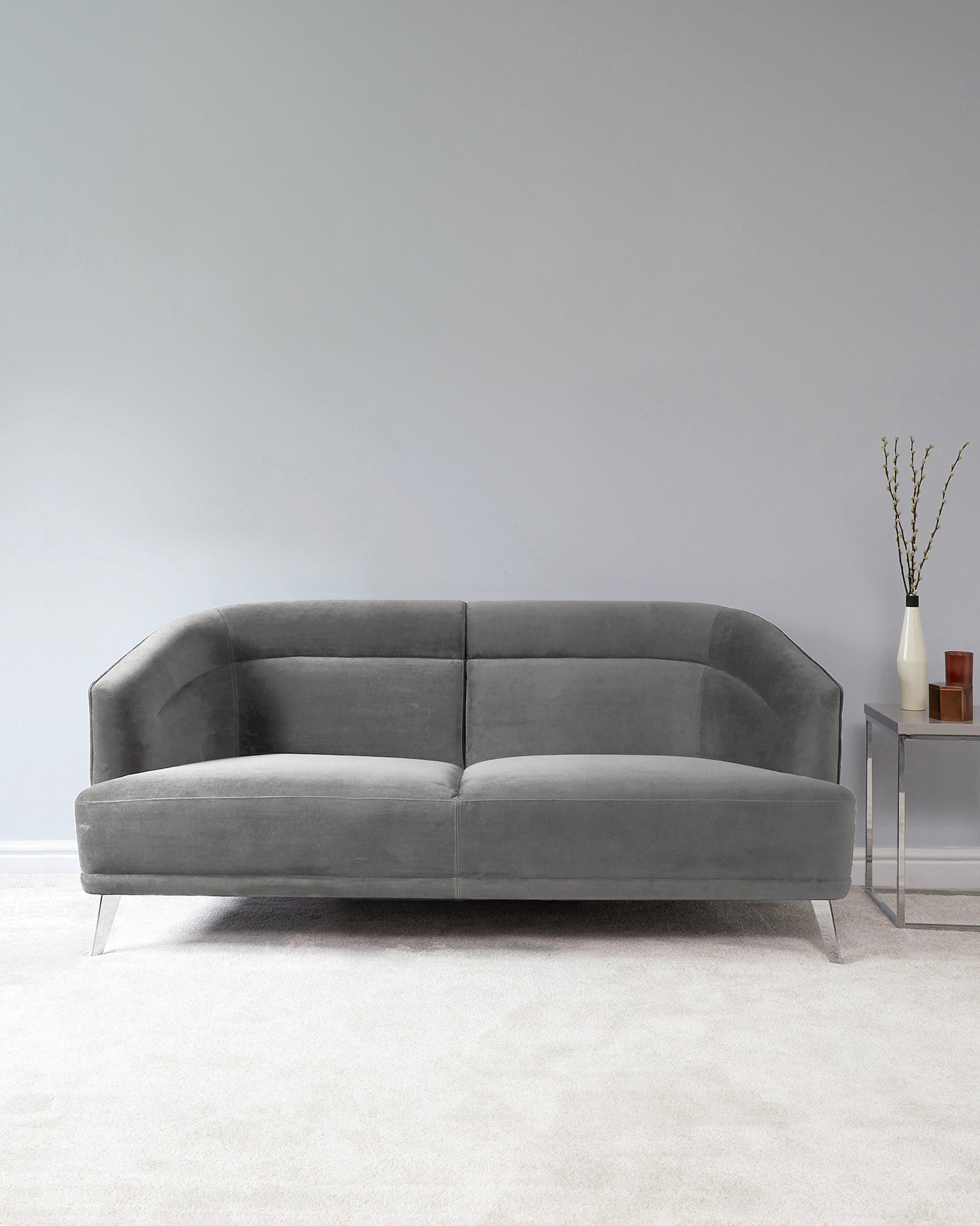 Amber Light Grey Velvet With Chrome Leg 2 Seater Sofa