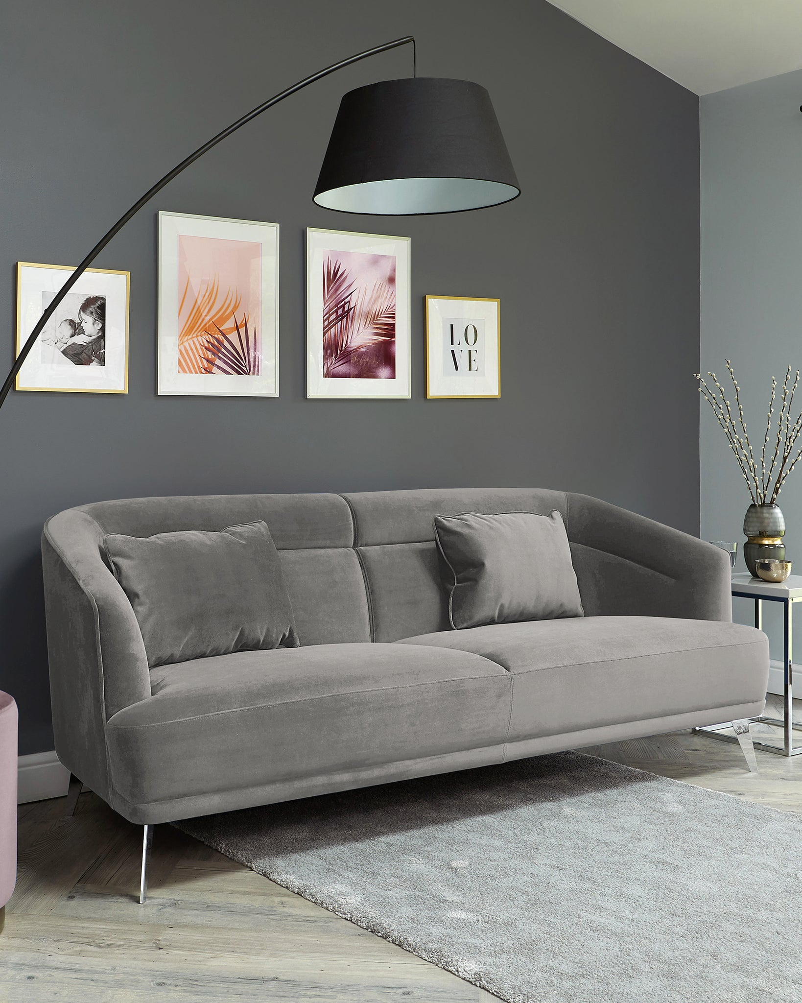 Amber Light Grey Velvet With Chrome Leg 3 Seater Sofa