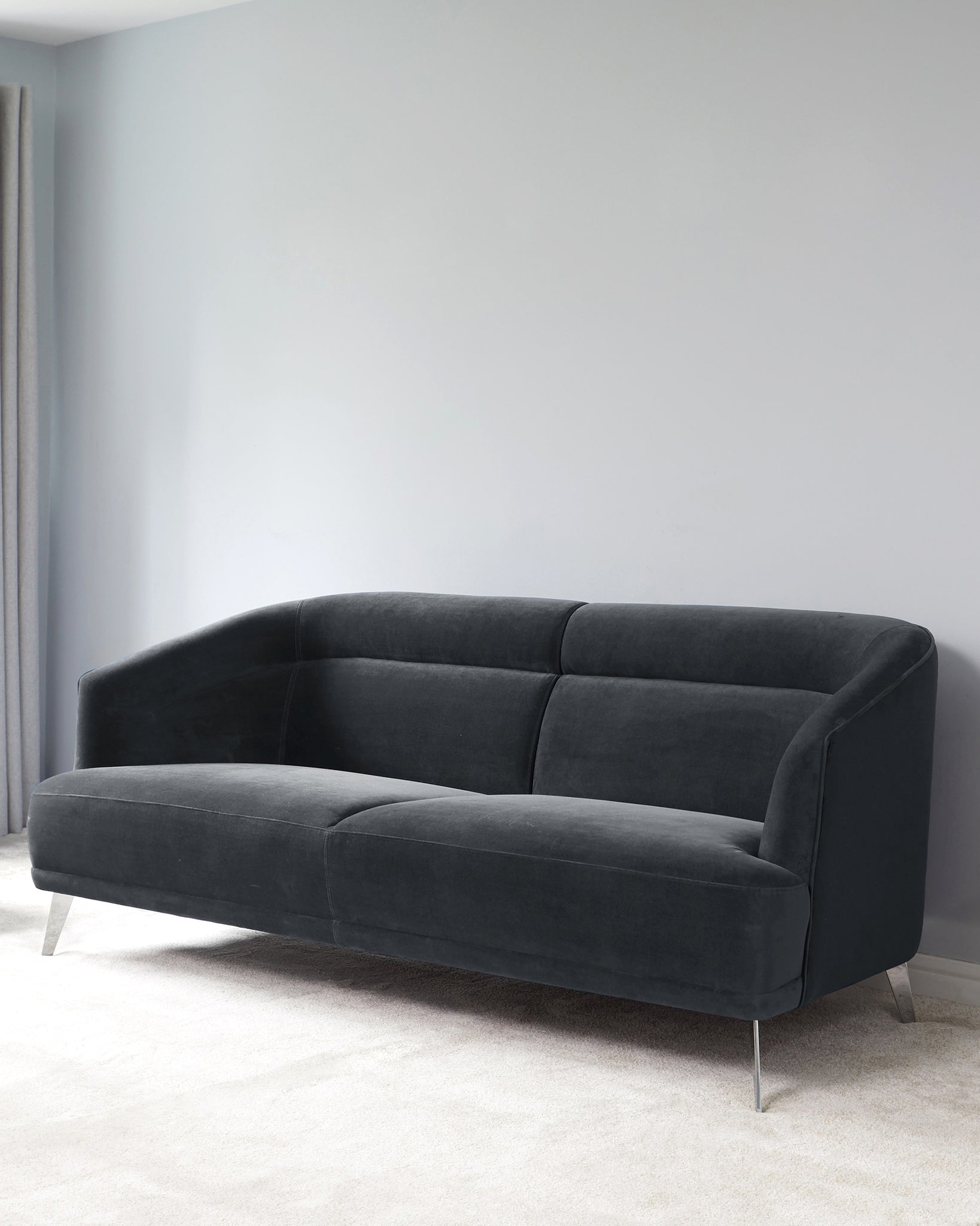 Amber Dark Grey Velvet With Chrome Leg 3 Seater Sofa