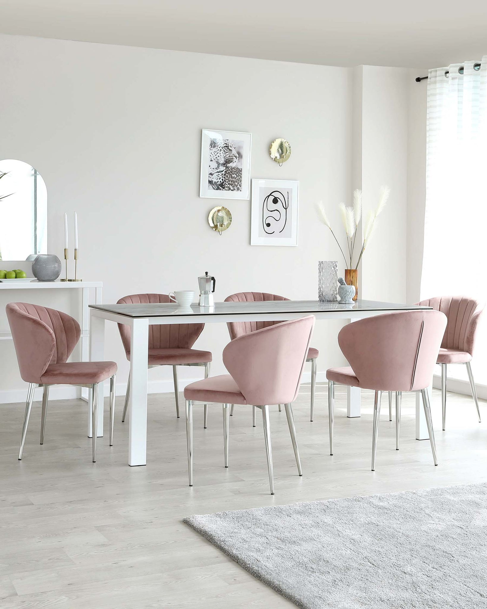 Anton Ceramic Marble And Harper Pink Velvet 6 Seater Dining Set