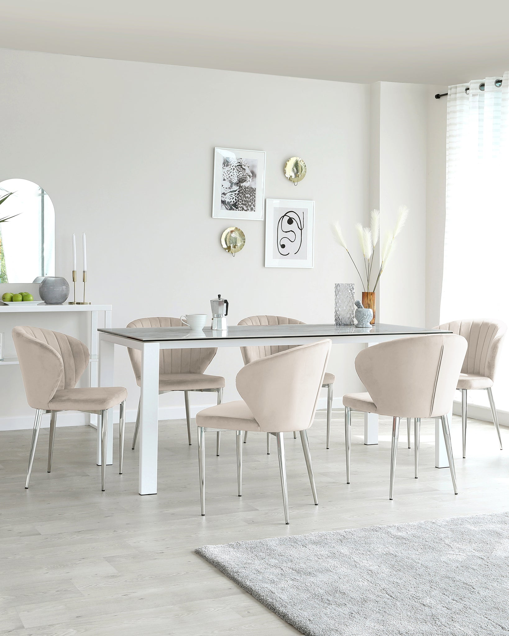 Anton White Ceramic Marble 6 Seater Dining Table