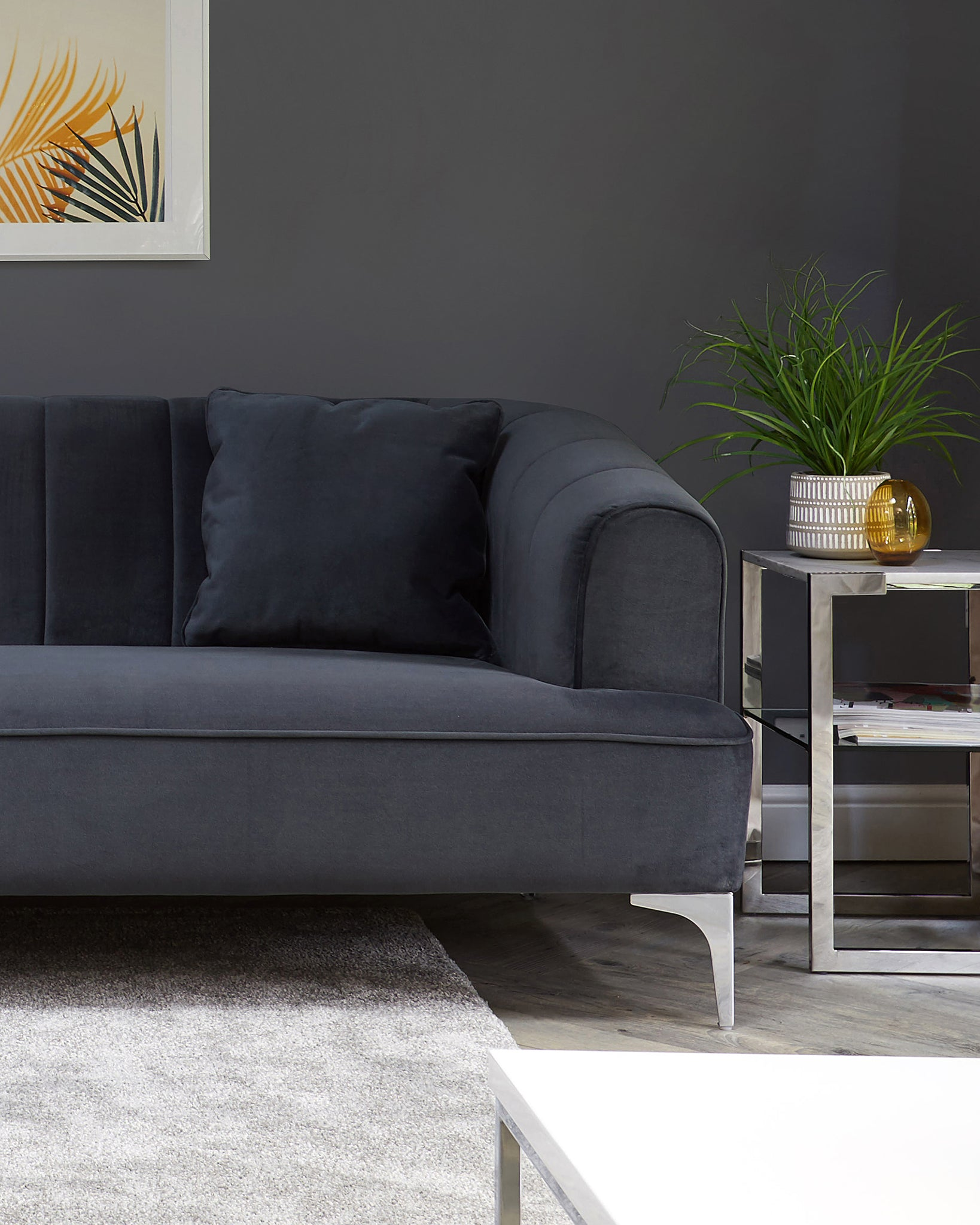 Archie Dark Grey Velvet With Chrome Leg 2 Seater Sofa