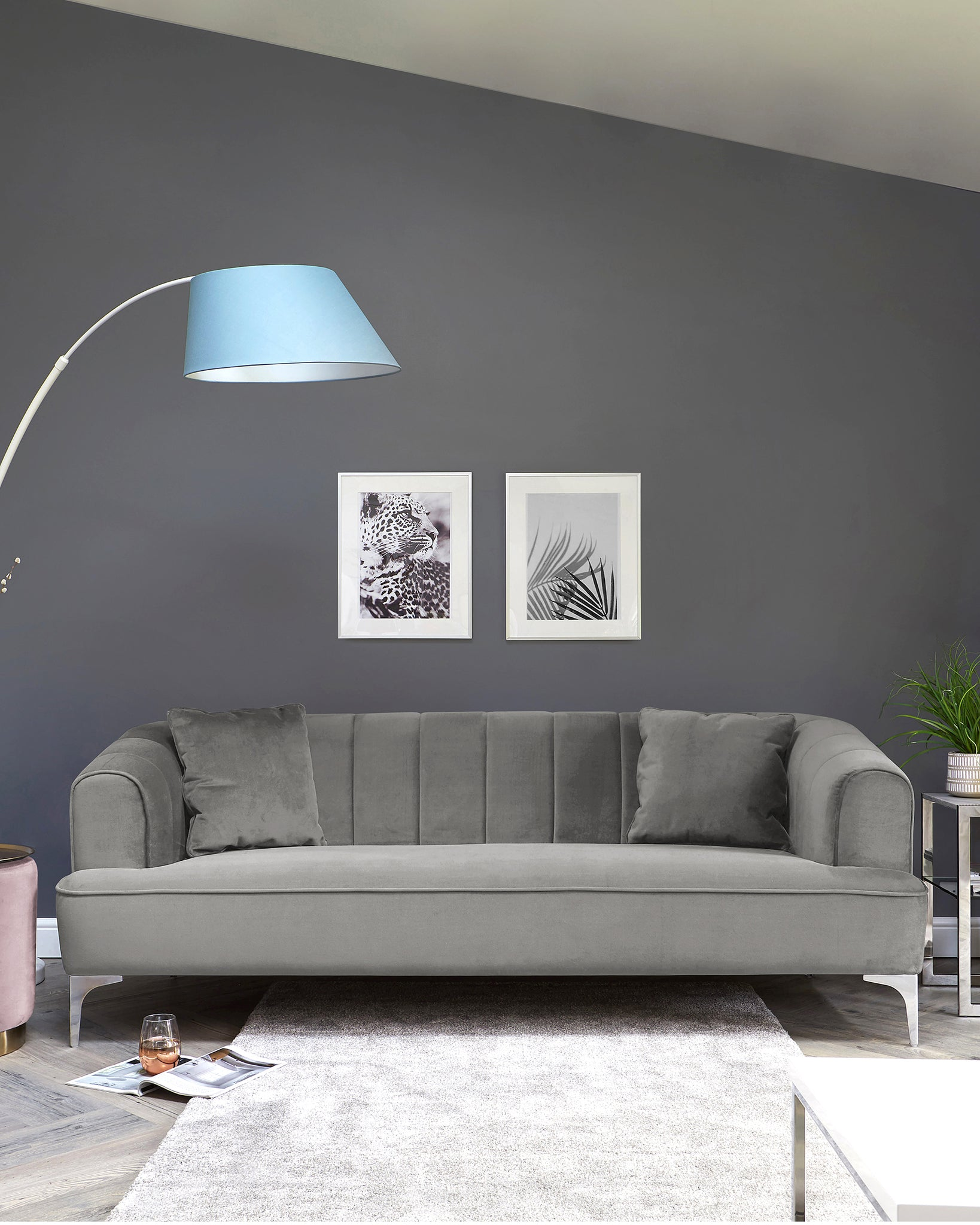 Archie Light Grey Velvet And Chrome Leg 3 Seater Sofa