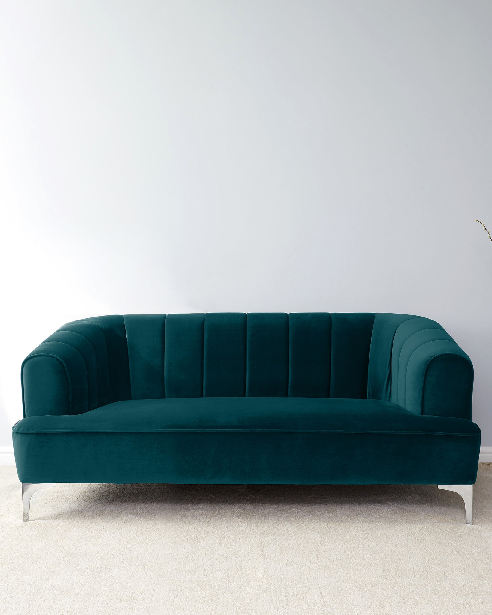Archie Dark Teal Velvet And Chrome Leg 2 Seater Sofa