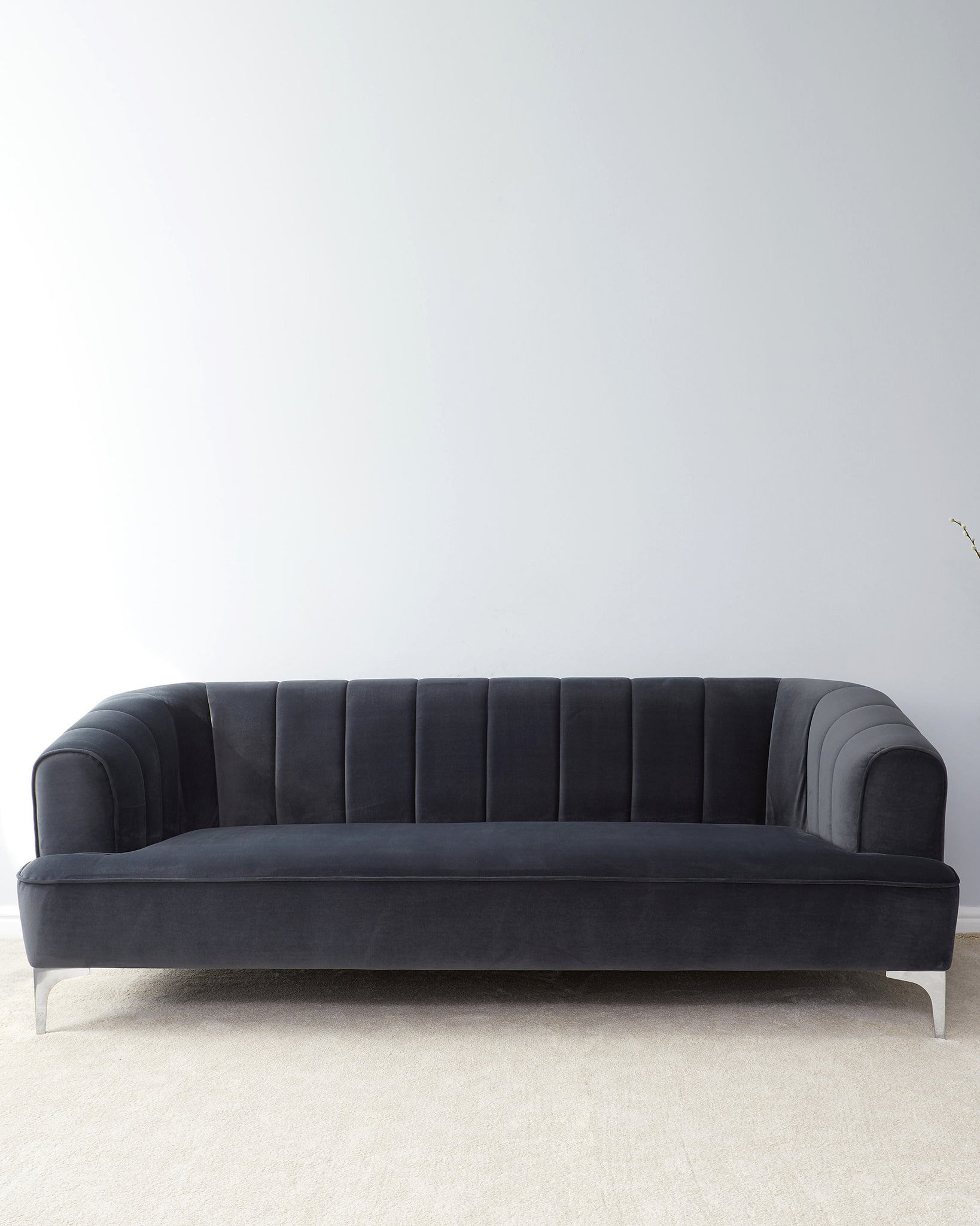 Archie Dark Grey Velvet And Chrome Leg 3 Seater Sofa