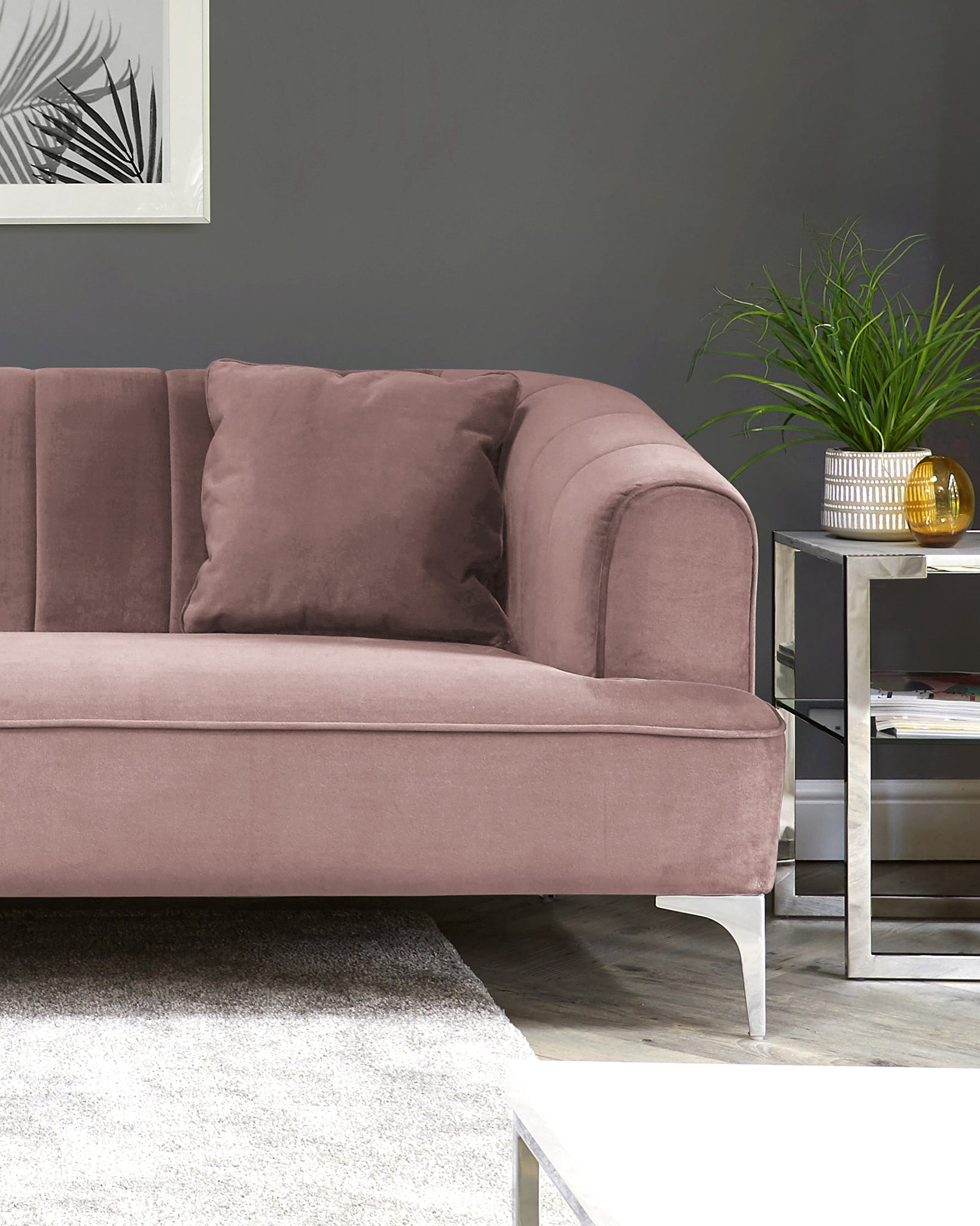 Archie Blush Pink Velvet With Chrome Leg 2 Seater Sofa