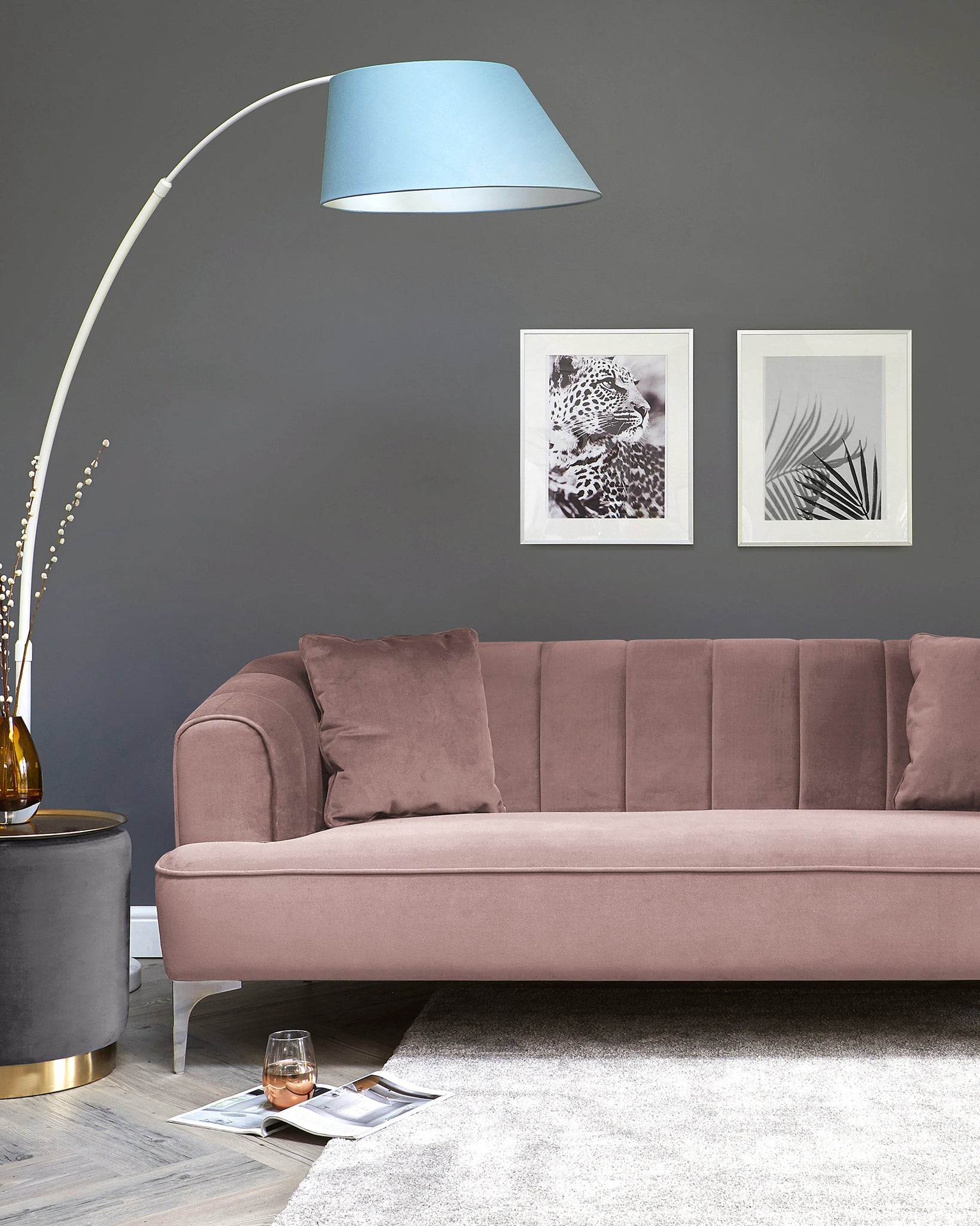 Archie Blush Pink Velvet With Chrome Leg 3 Seater Sofa