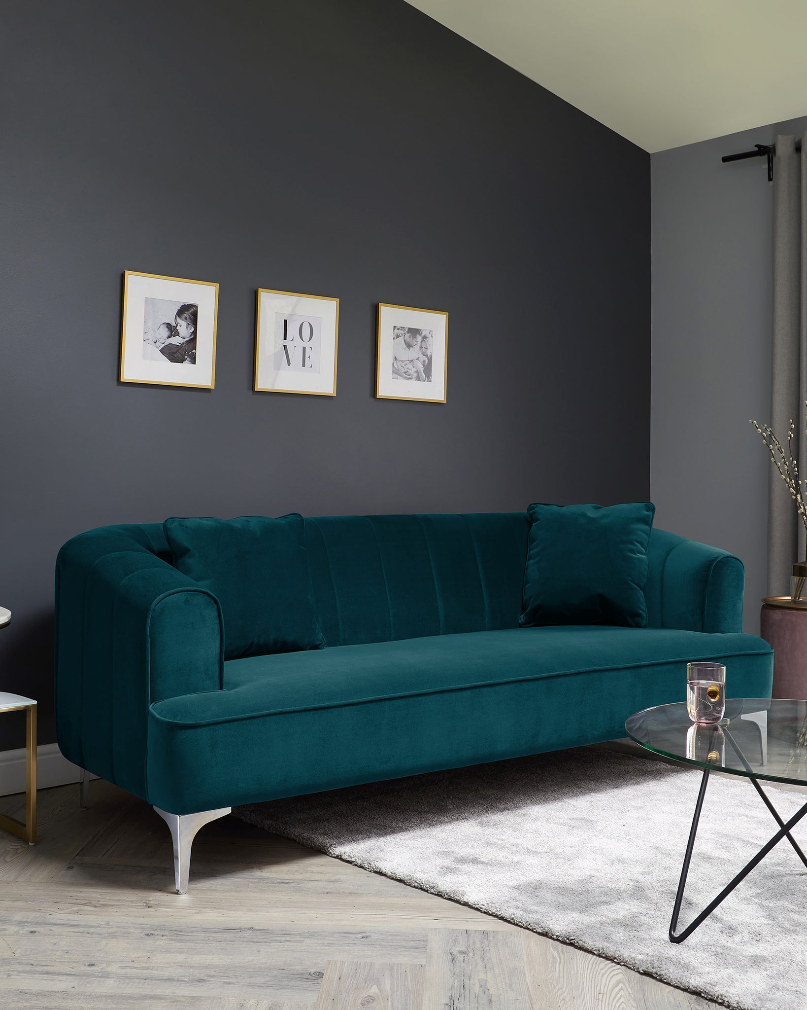 Archie Dark Teal Velvet With Chrome Leg 3 Seater Sofa