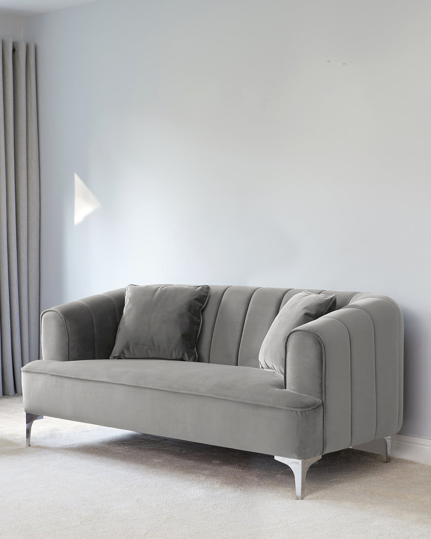 Archie Light Grey Velvet With Chrome Leg 2 Seater Sofa