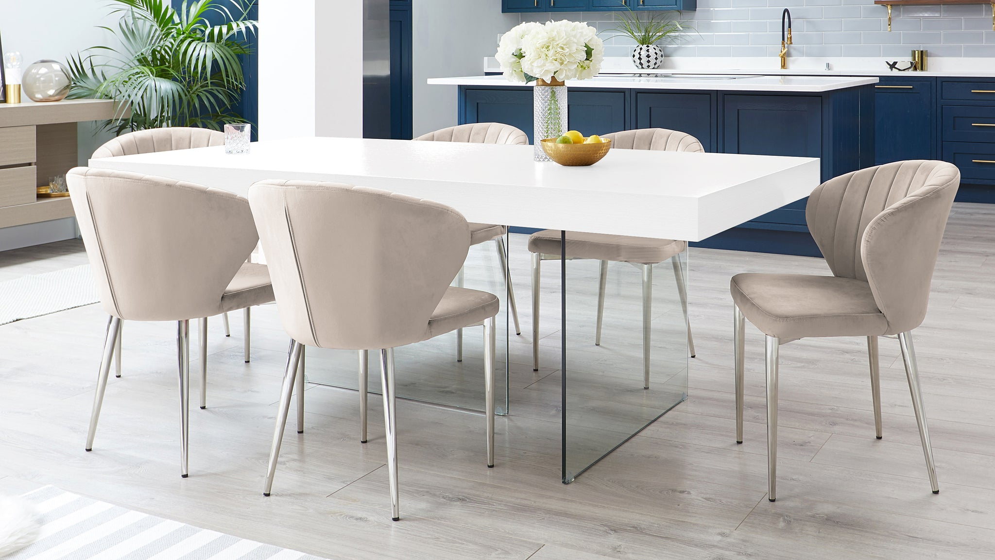 Aria White Oak And Harper Champagne Velvet Dining Chairs