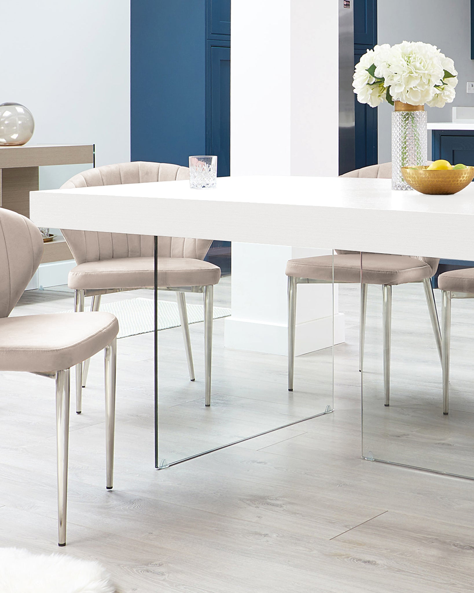 Aria White Oak And Glass Dining Table