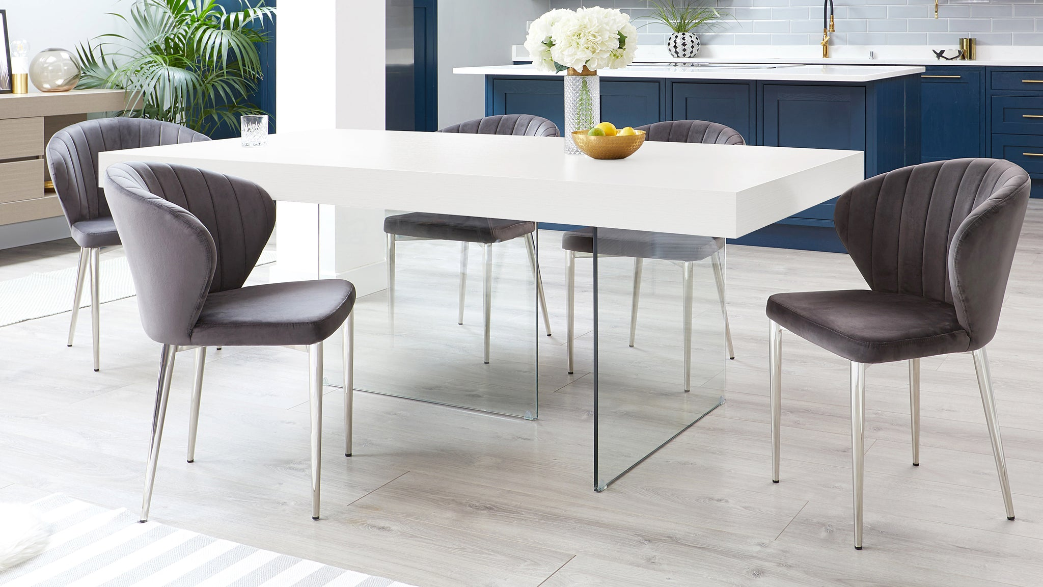 Aria White Oak And Harper Dark Grey Velvet Dining Chairs