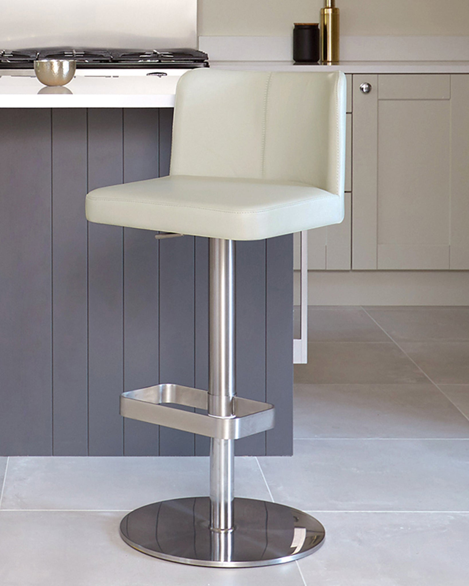 Arlo Light Grey Real Leather Gas Lift Bar Stool