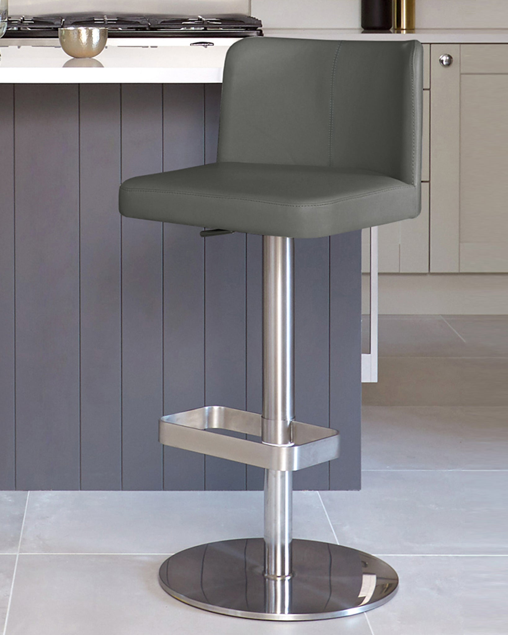 Arlo Dark Grey Real Leather Gas Lift Bar Stool