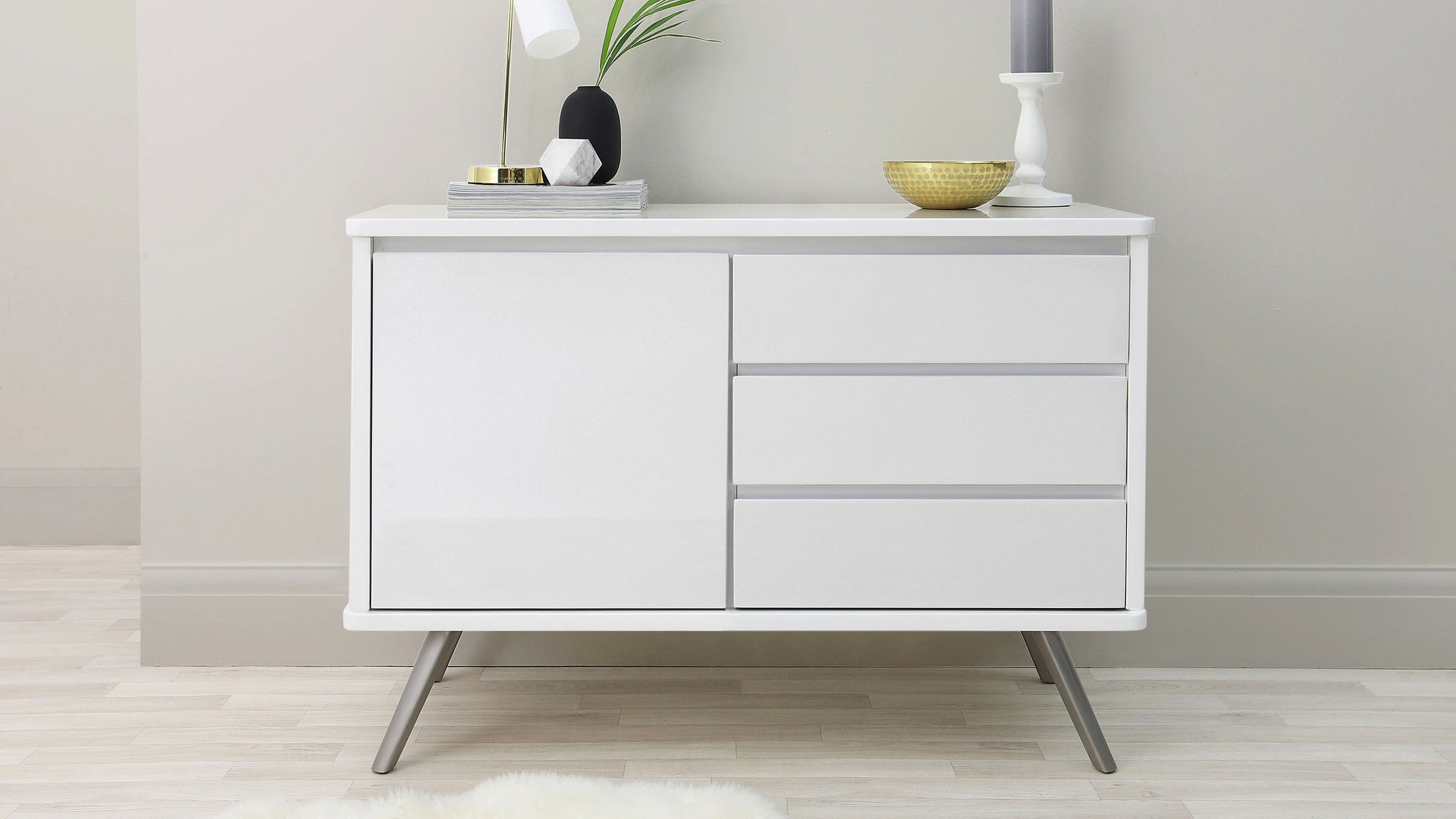 Assi Compact White Gloss Sideboard