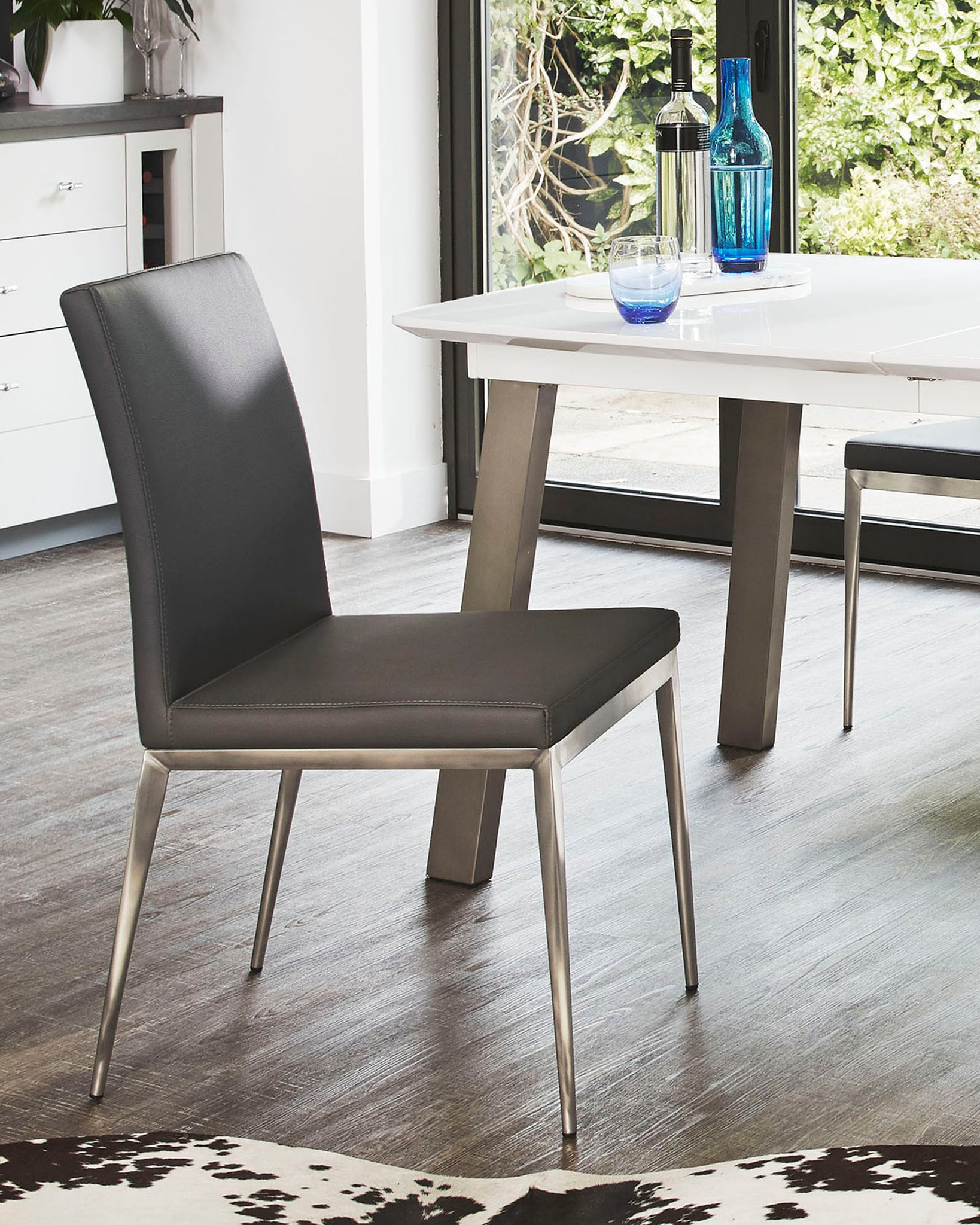 Lucia Grey & Brushed Metal Dining Chair - Set Of 2