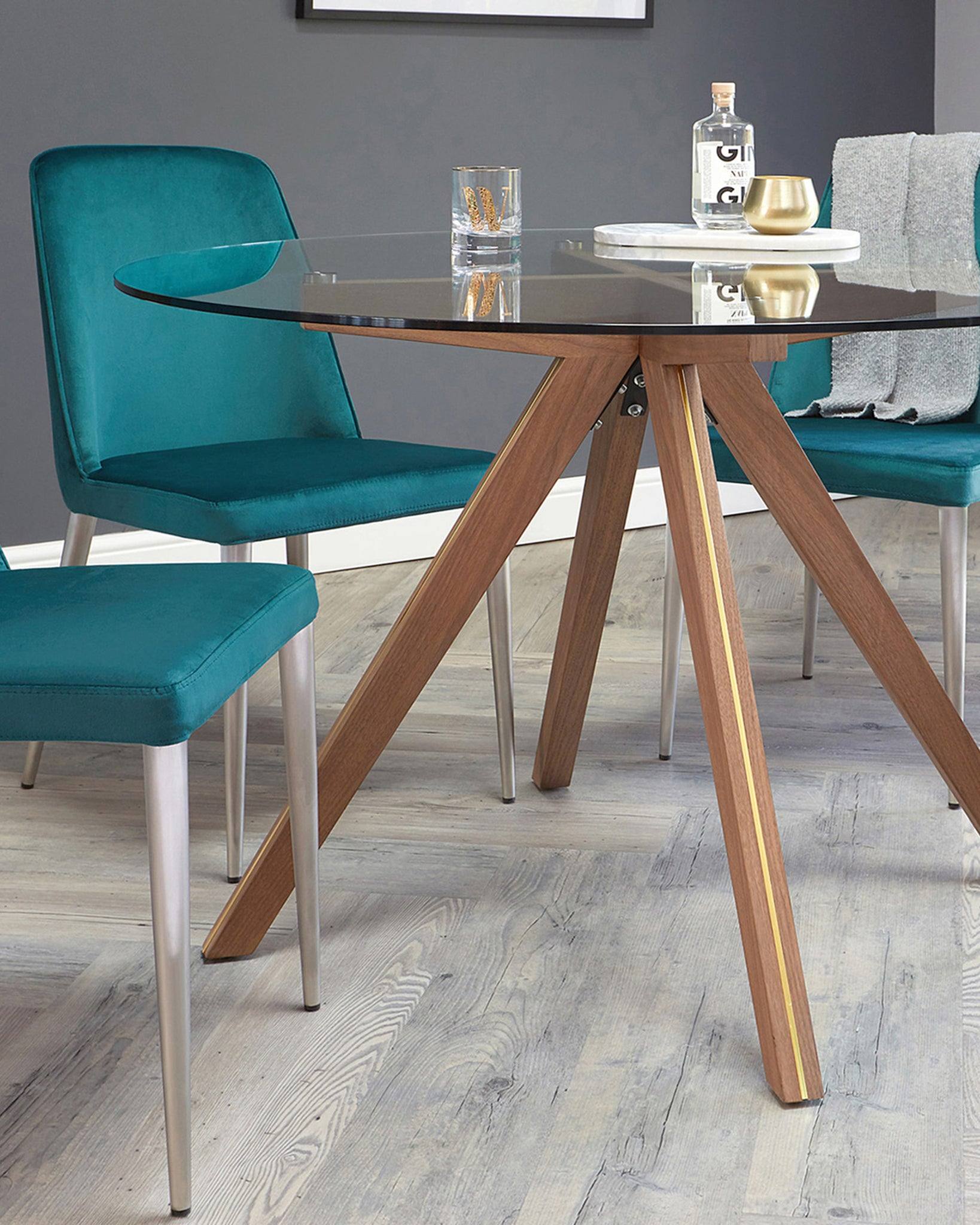 Valencia Glass Round Table And Bay Blue Velvet 4 Seater Dining Set
