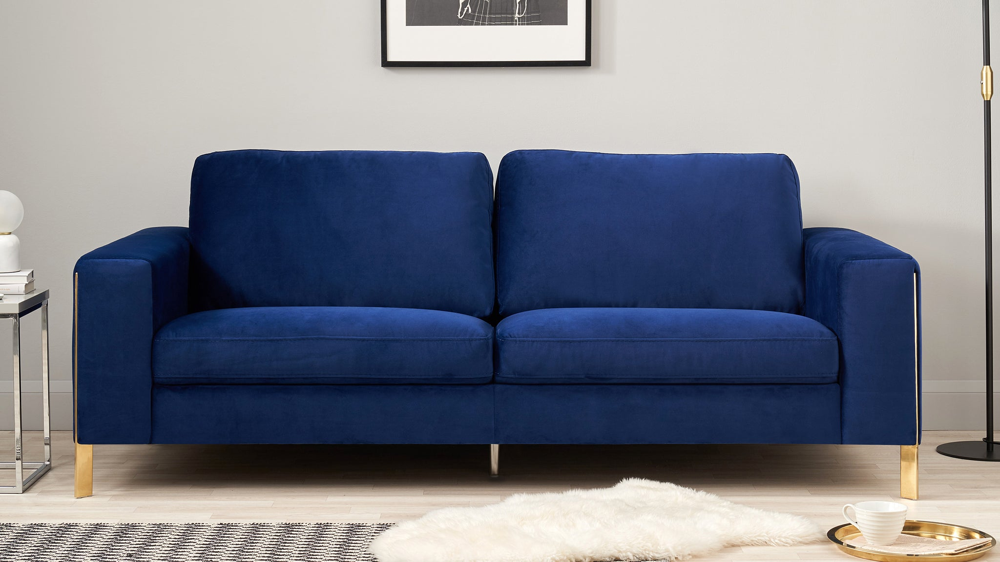 Effie Dark Blue Velvet With Polished Brass 3 Seater Sofa