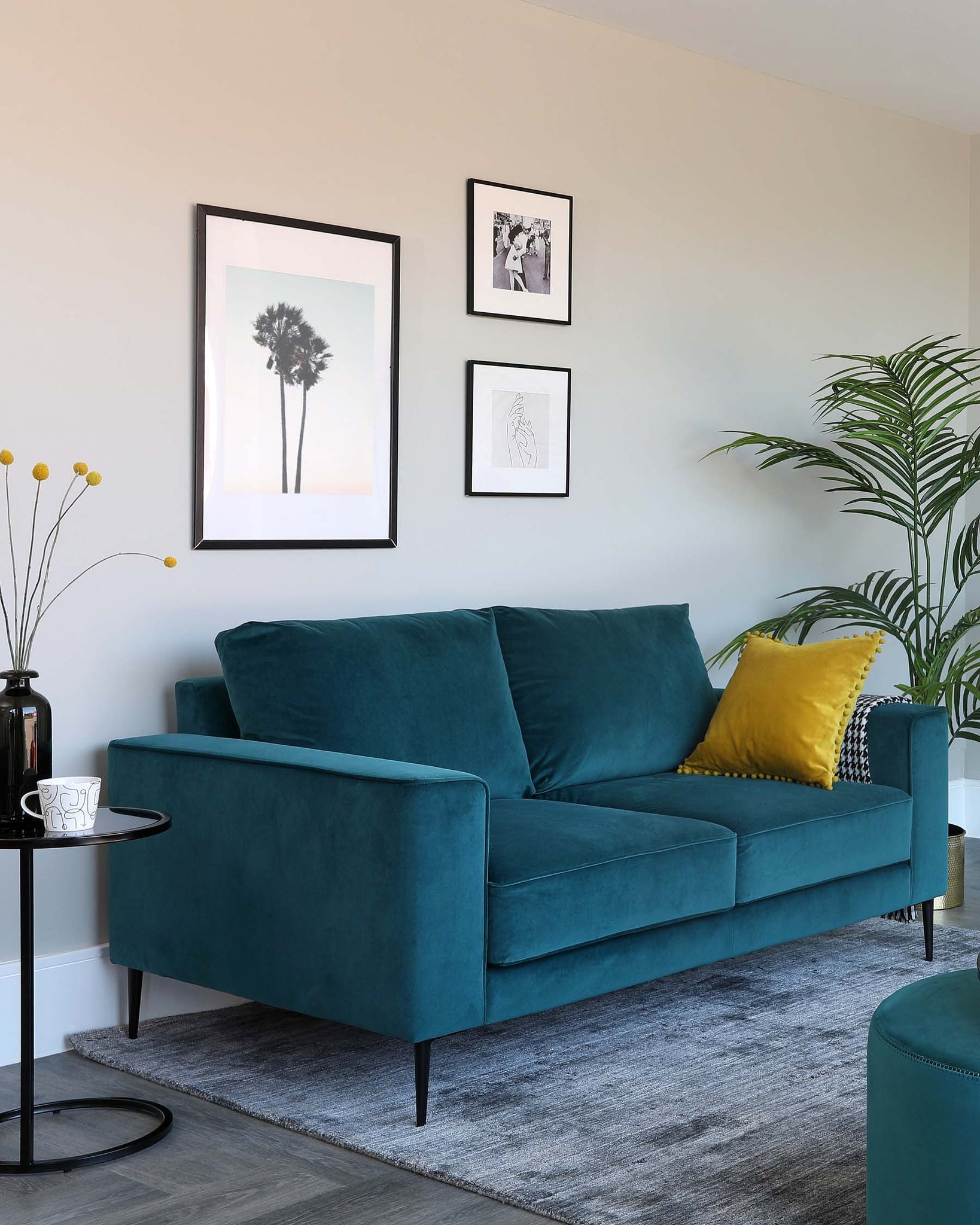Bailey 3 Seater Teal Velvet Sofa