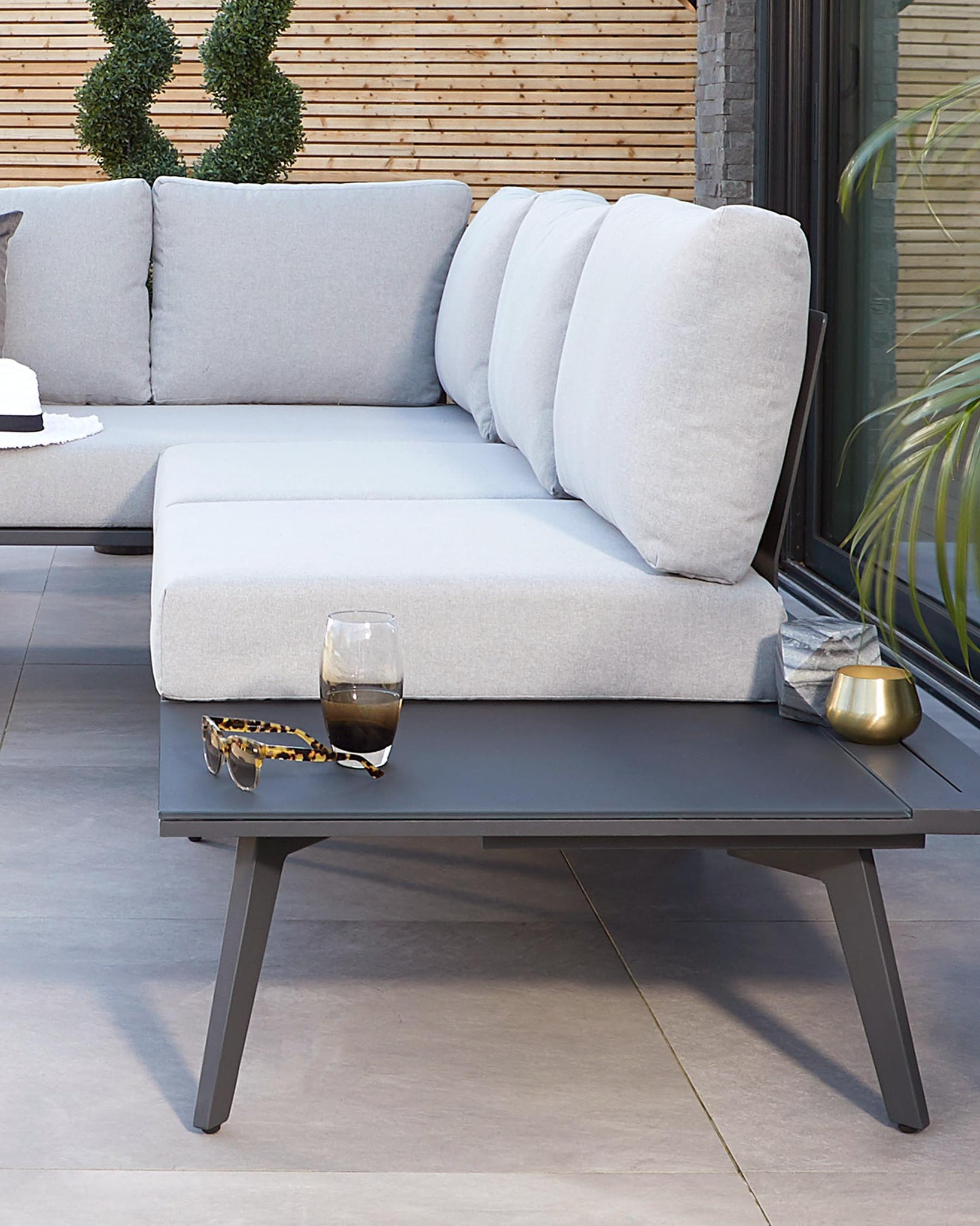 Palermo Grey Dining Table with Bali Corner Bench Set