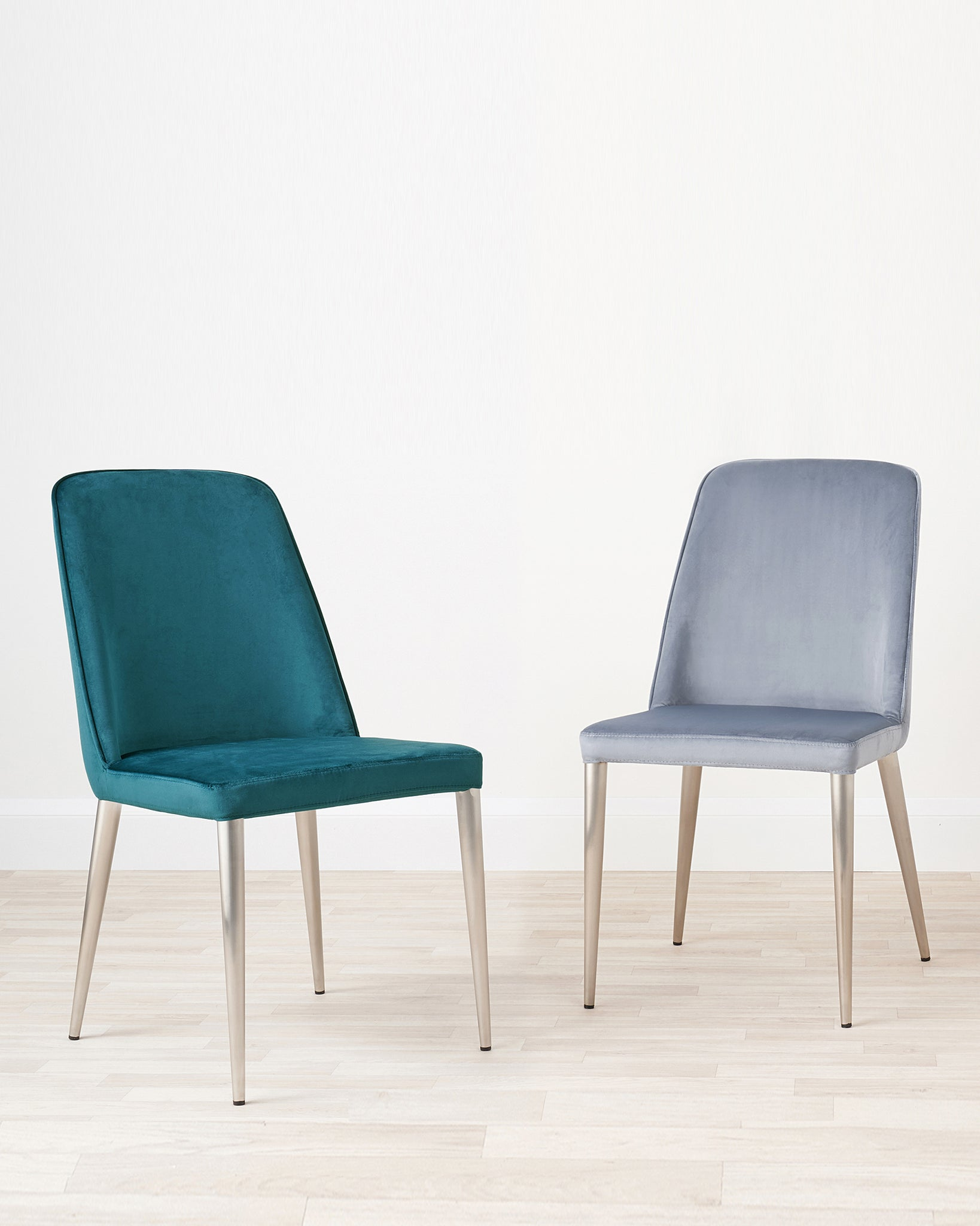 Bay Blue Grey Velvet And Brushed Steel Chair - Set Of 2