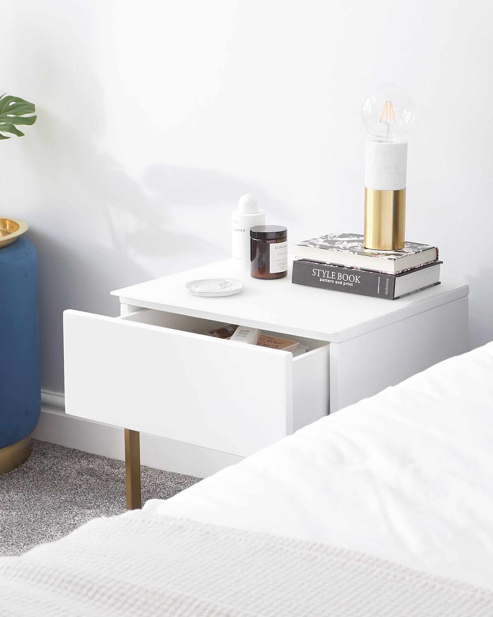 Benton Single Drawer White Bedside Table