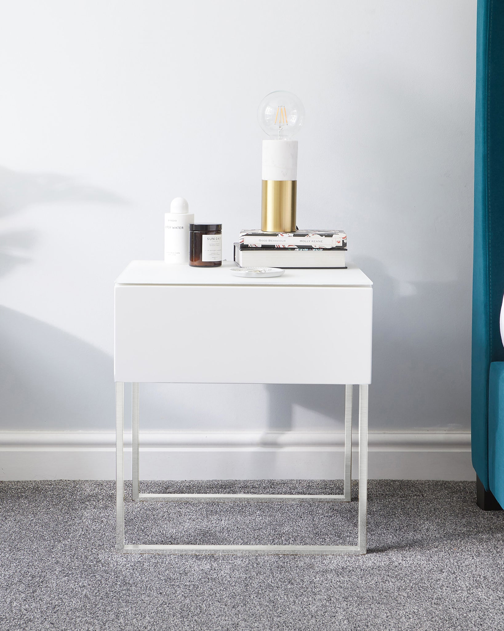 Benton Single Drawer White Bedside Table With Chrome Legs