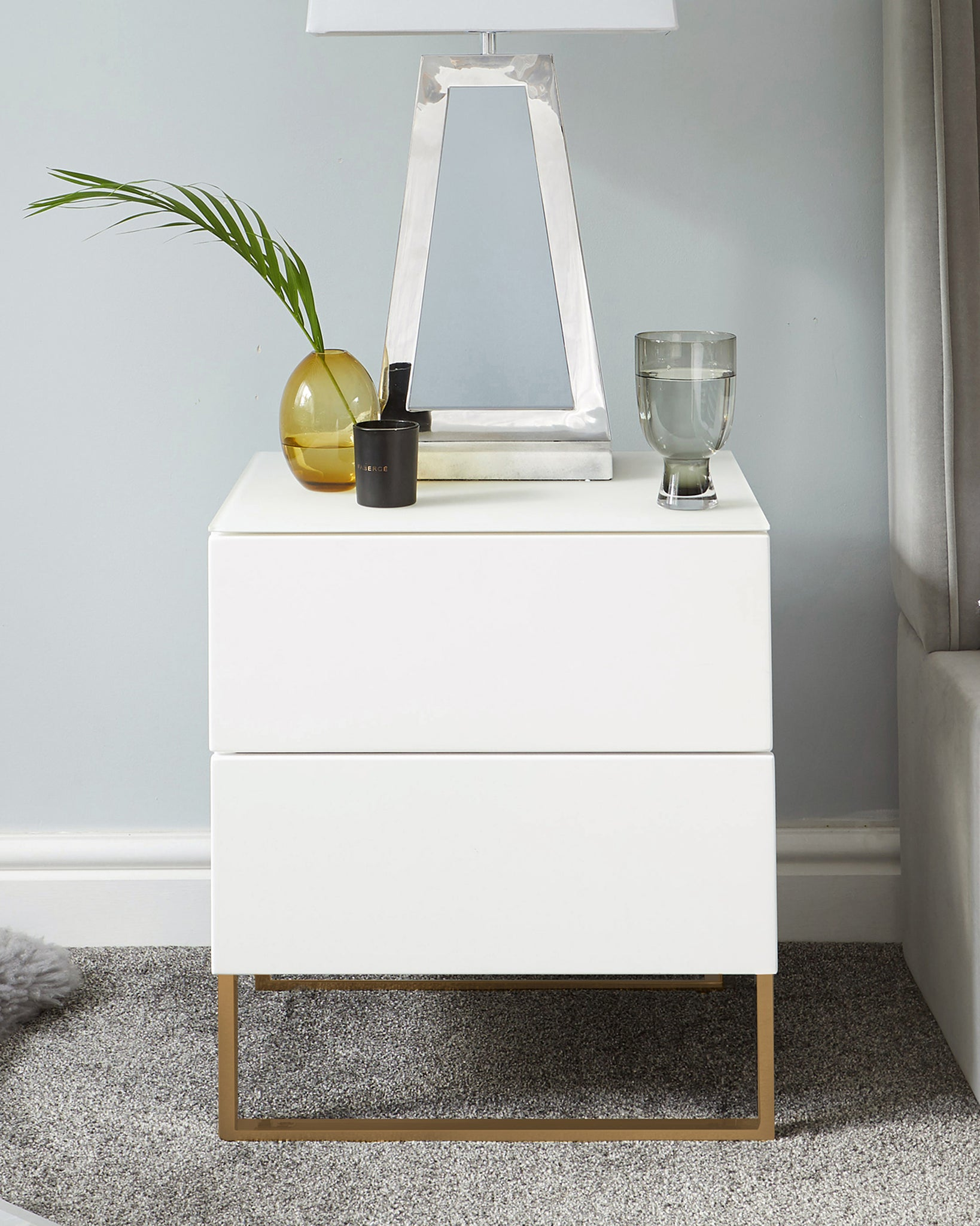 Benton White Double Drawer Bedside Table With Brass Legs