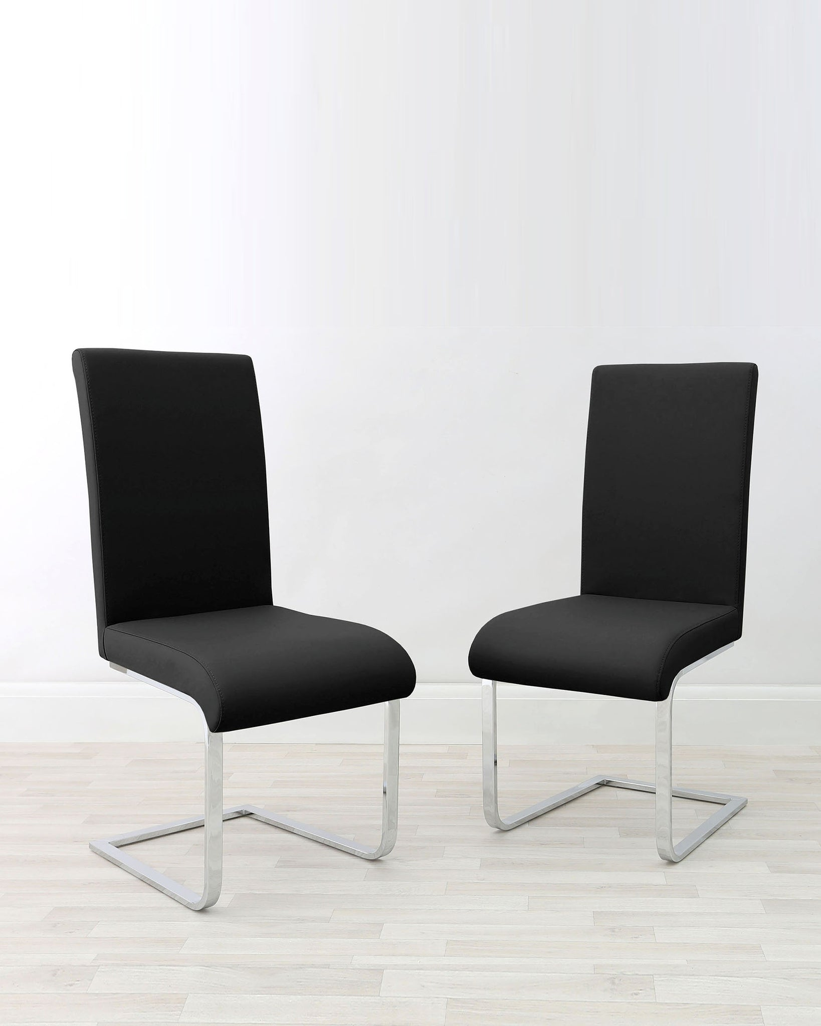 Imola Cantilever Black Faux Leather Chair - Set Of 2