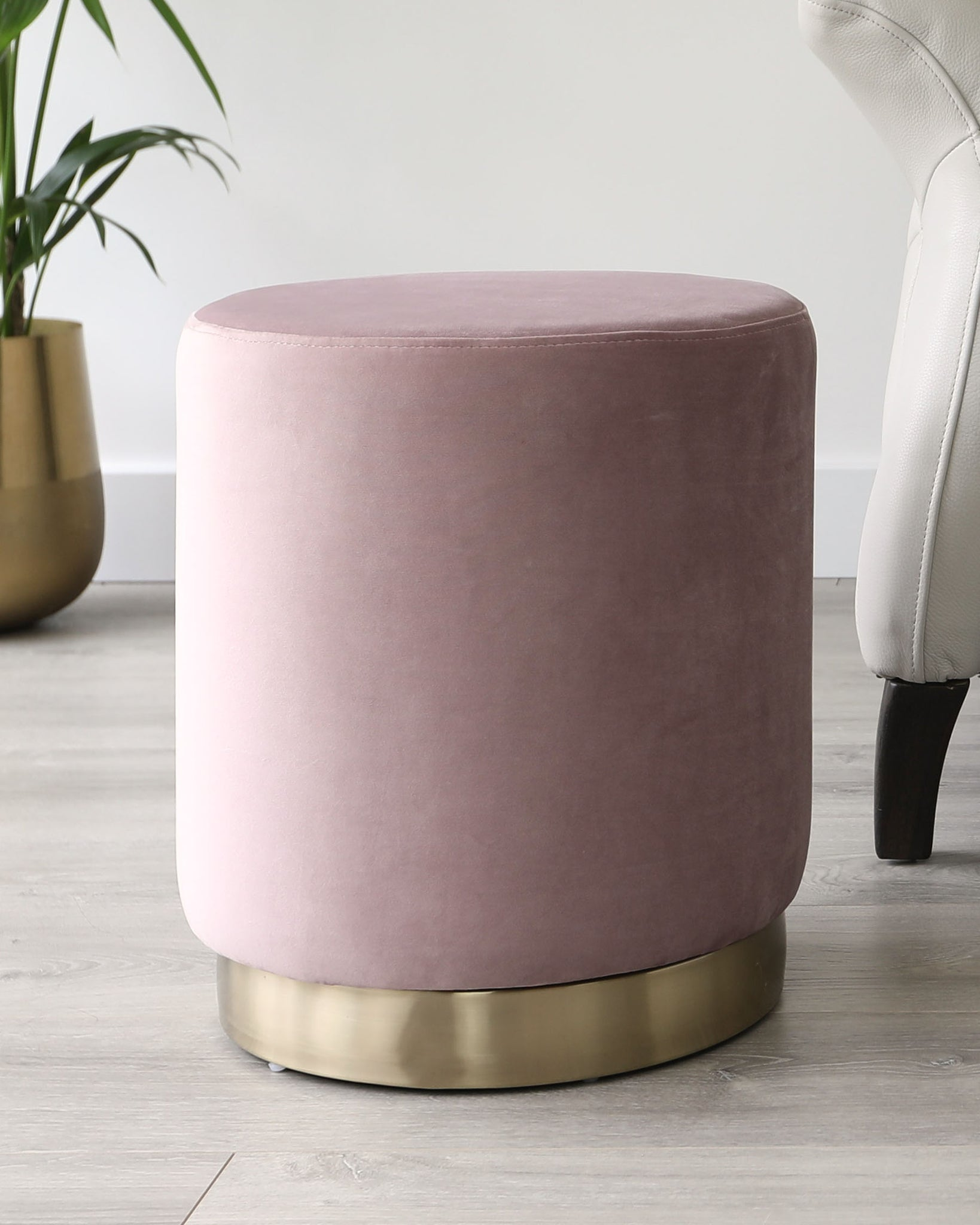 Plaza Blush Pink And Brass Velvet Stool