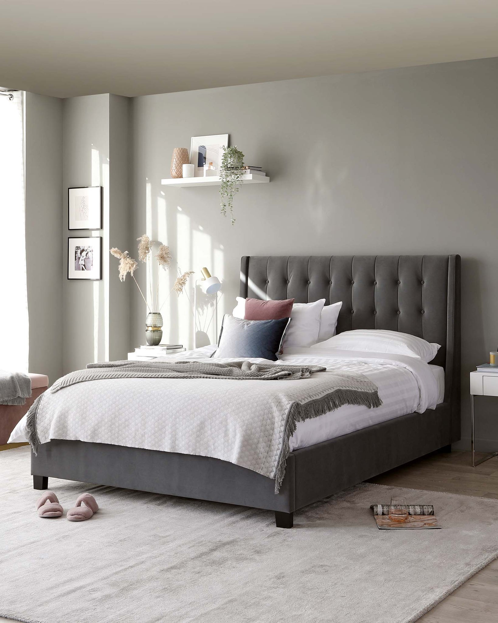 Brooklyn Grey Velvet King Size Bed with Storage