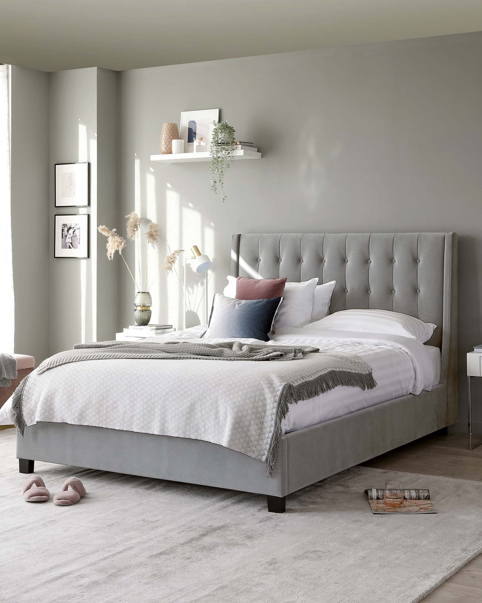 Brooklyn Light Grey Velvet King Size Bed with Storage