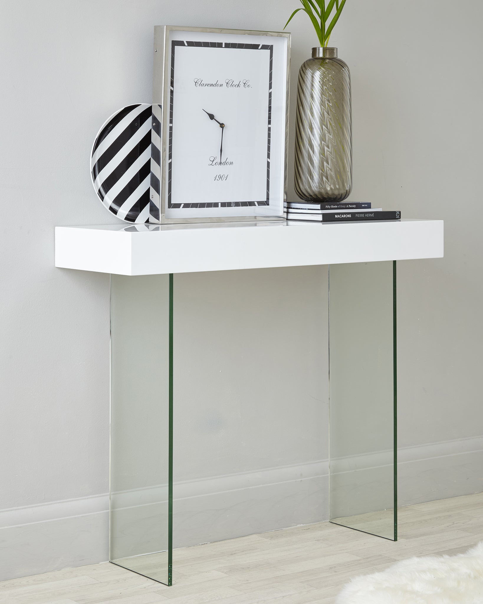Calanna White Gloss And Glass Console Table