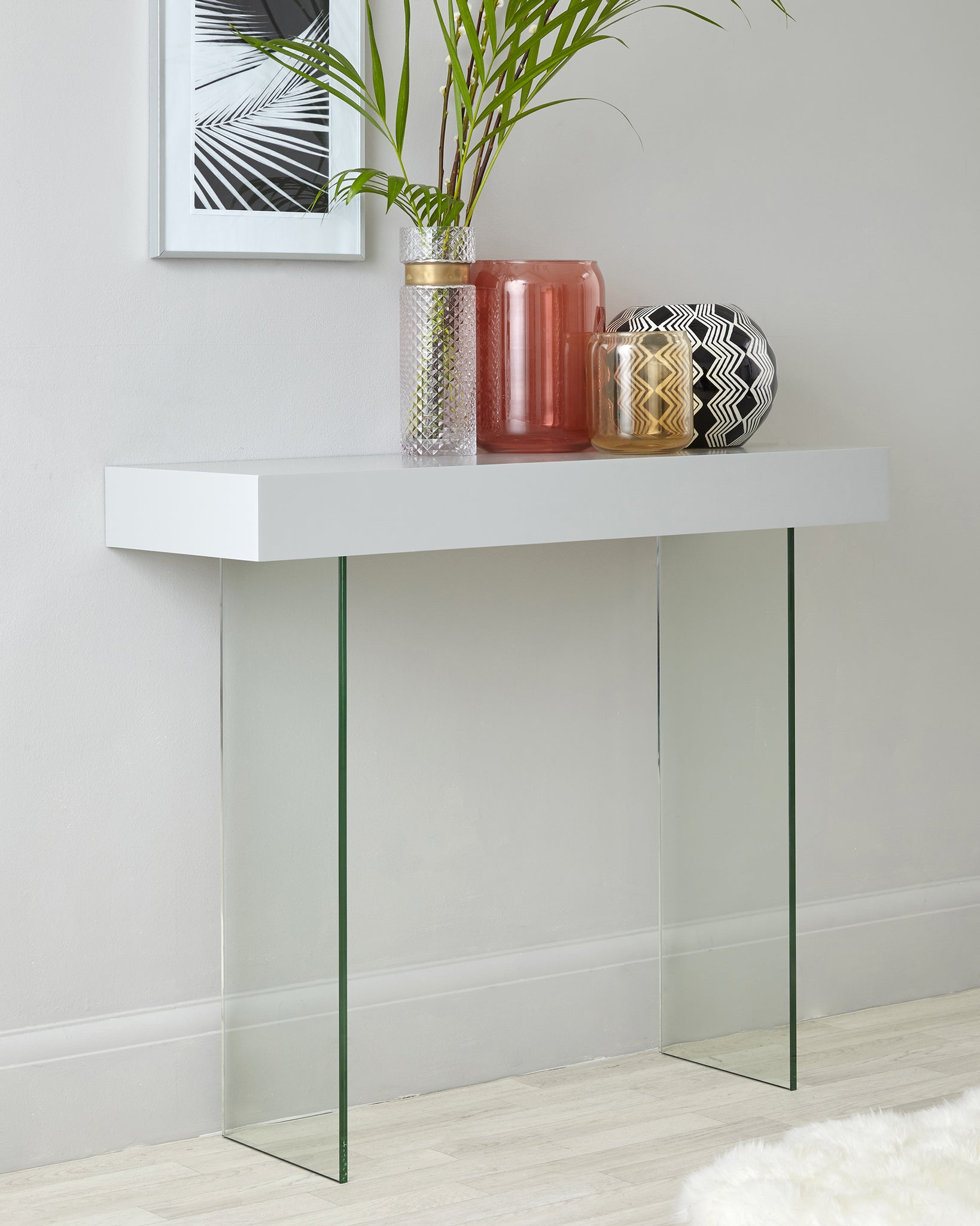 Calanna Grey Oak And Glass Console Table