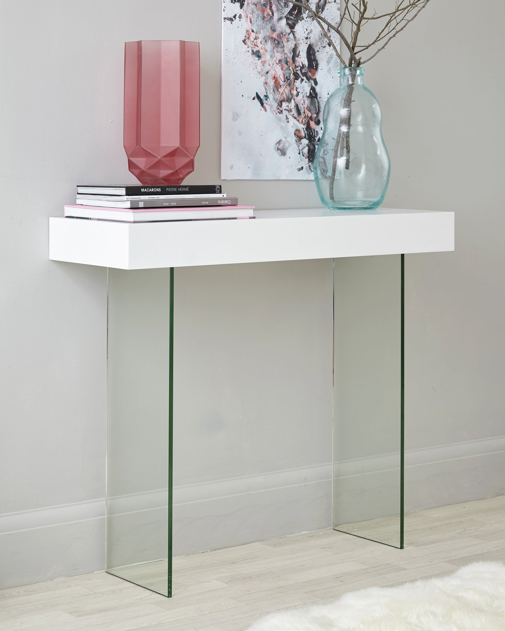 Calanna White Oak And Glass Console Table