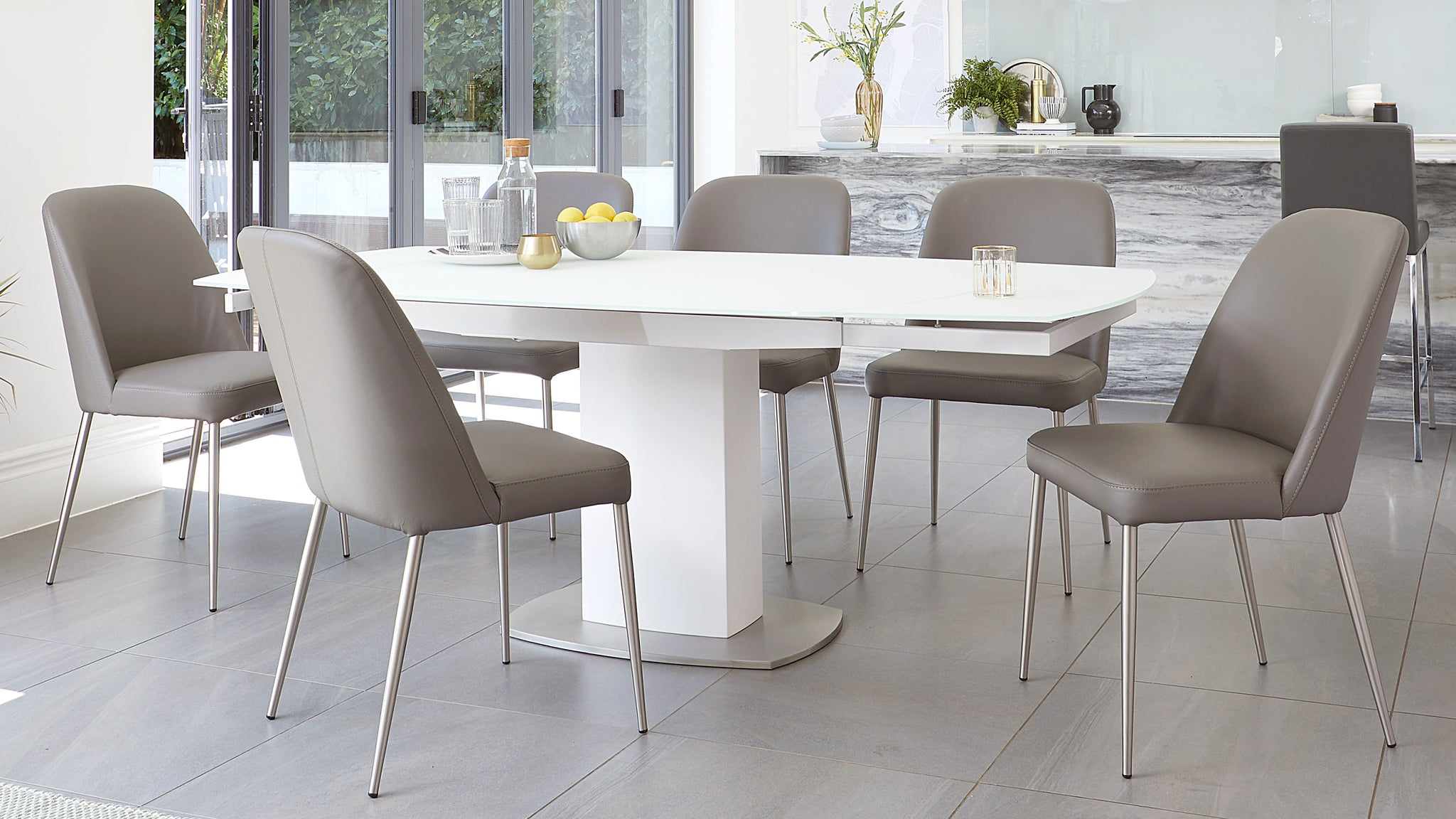 Camillo White Extending Table And Deco Real Leather Dining Chairs
