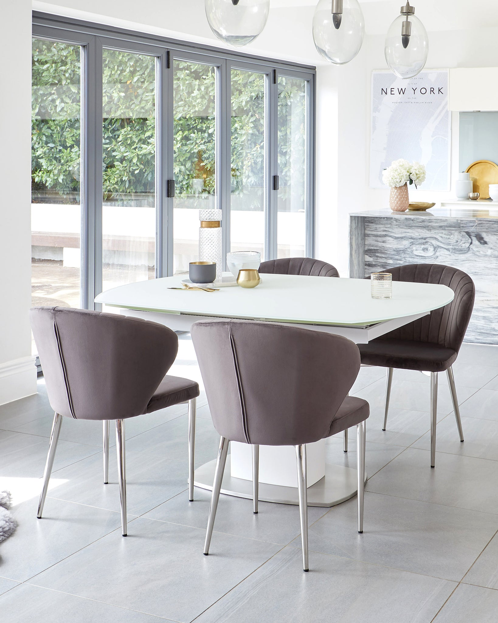 Camillo White Extending Table With Harper Dark Grey Velvet Dining Chairs
